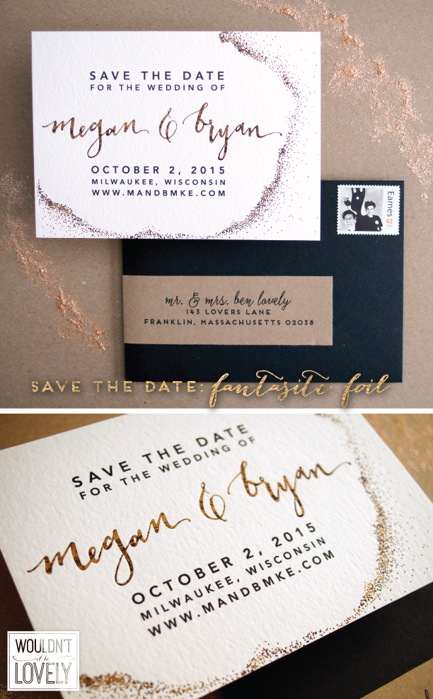 masculine gold foil wedding save the date