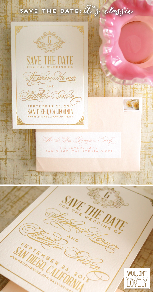 custom designed classic white and gold wedding save the date