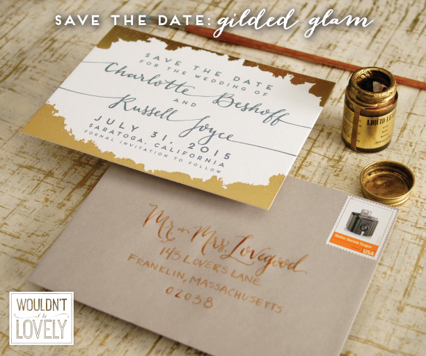 gold grey and white wedding save the date, gold foil
