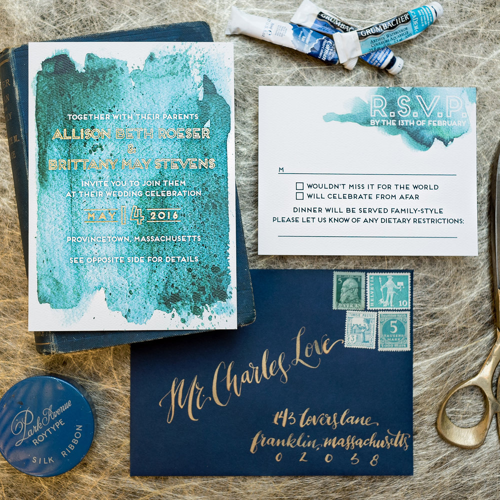 TEAL WATERCOLOR & GOLD FOIL WEDDING INVITATIONS