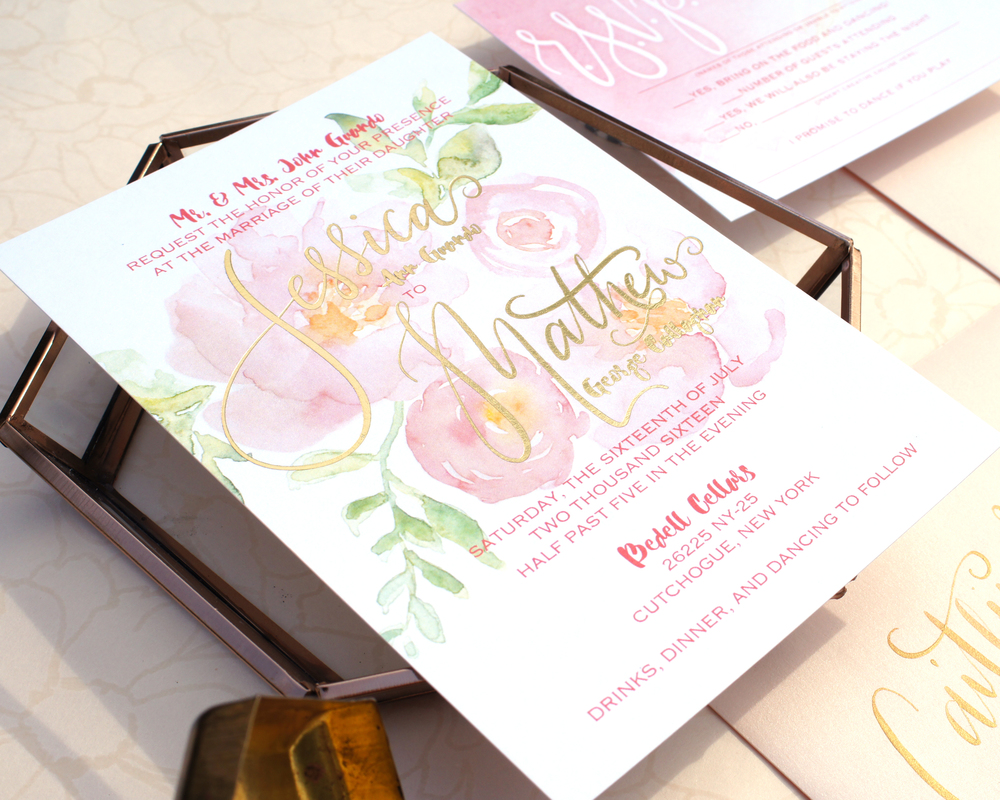 WATERCOLOR FLOWER & GOLD FOIL WEDDING INVITATION