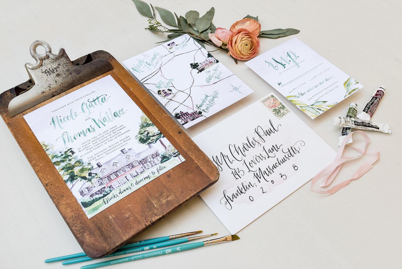 PENNSYLVANIA COUNTRY ANTHONY WAYNE HOUSE WATERCOLOR WEDDING INVITATIONS