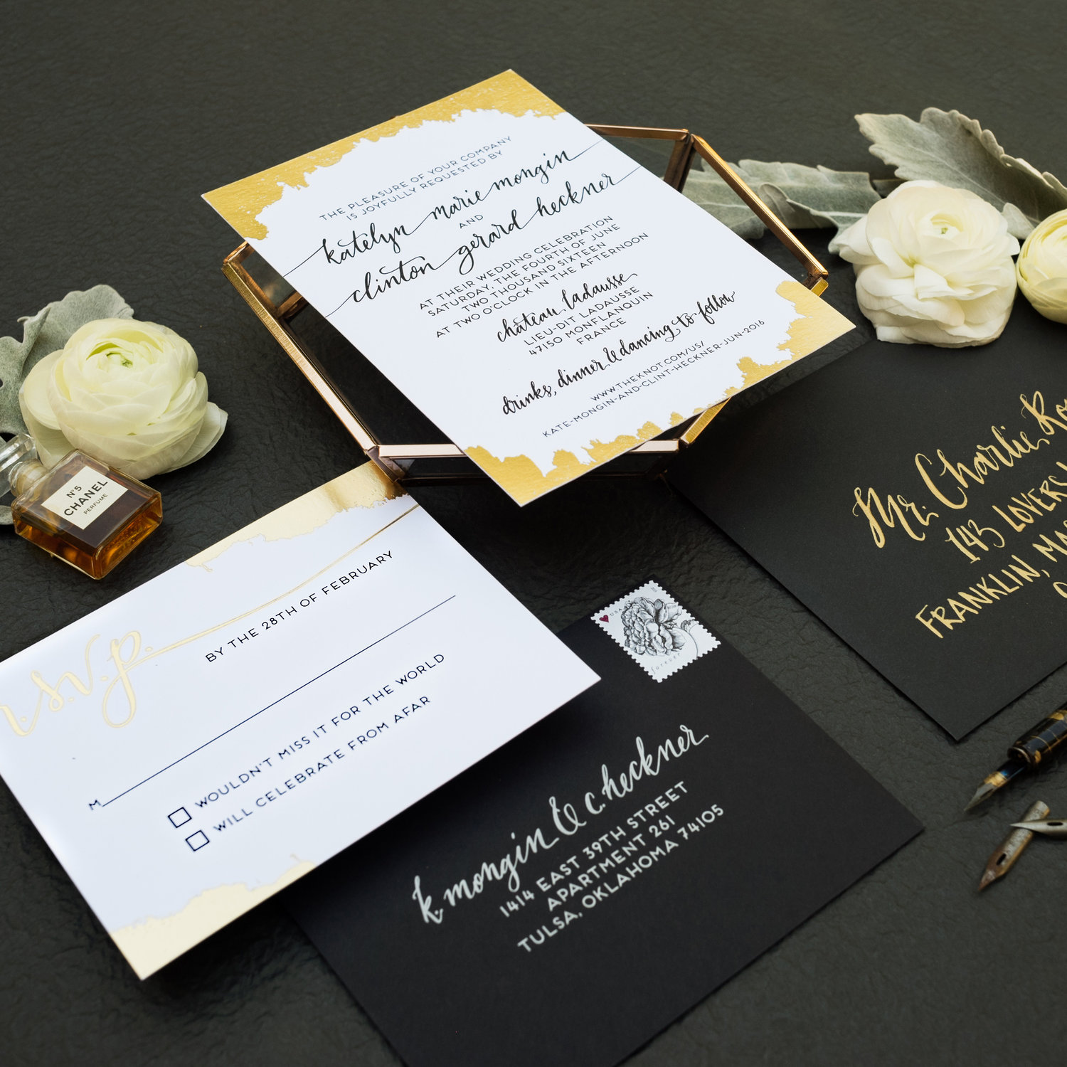PAINTED GOLD FOIL TOUCH WEDDING INVITATIONS