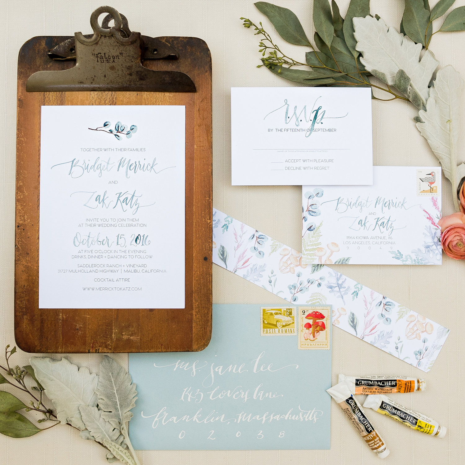 BOTANICAL SPRING WATERCOLOR WEDDING INVITATIONS