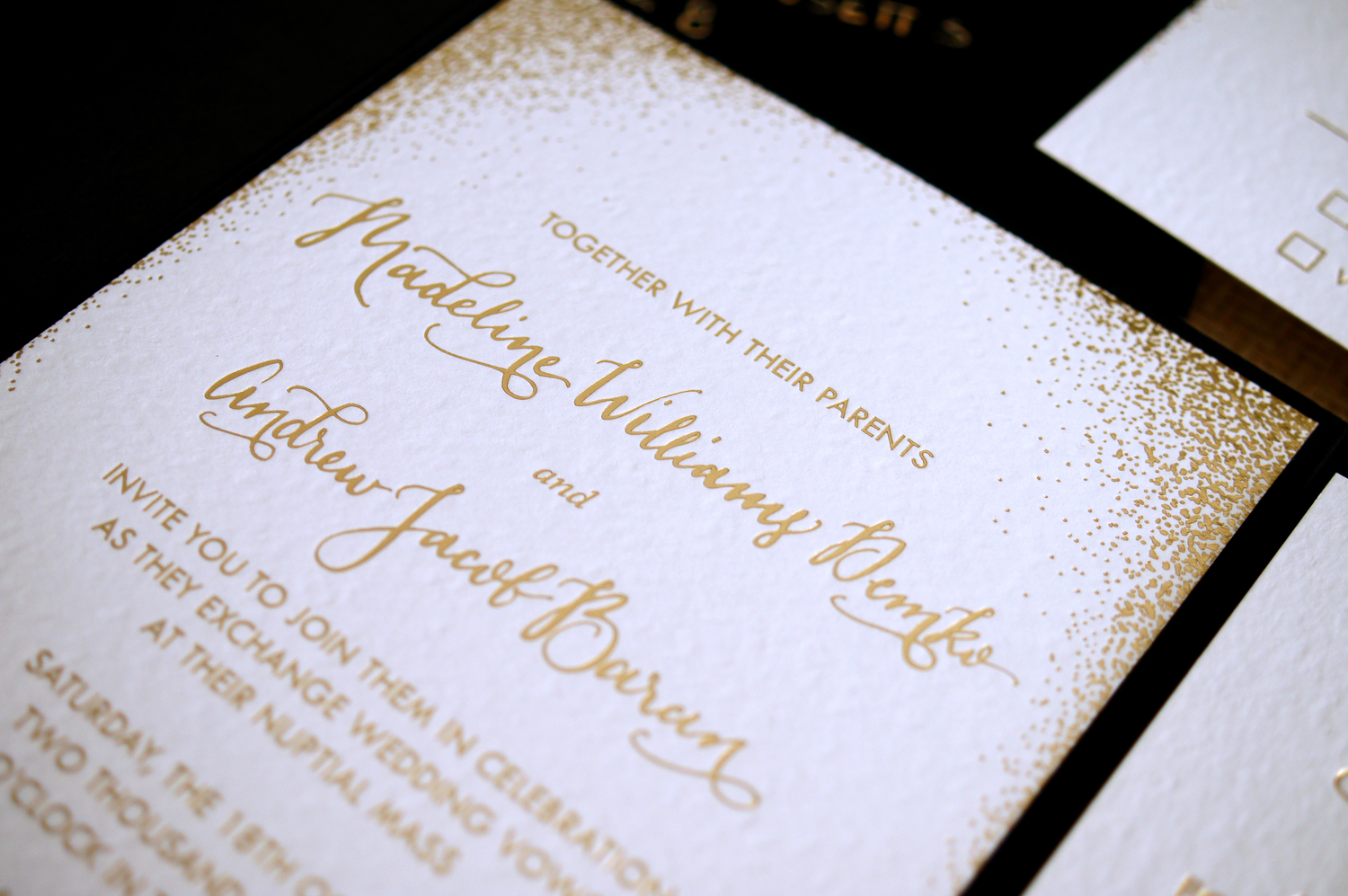 GOLD FOIL DOT CLASSIC MODERN WEDDING INVITATIONS