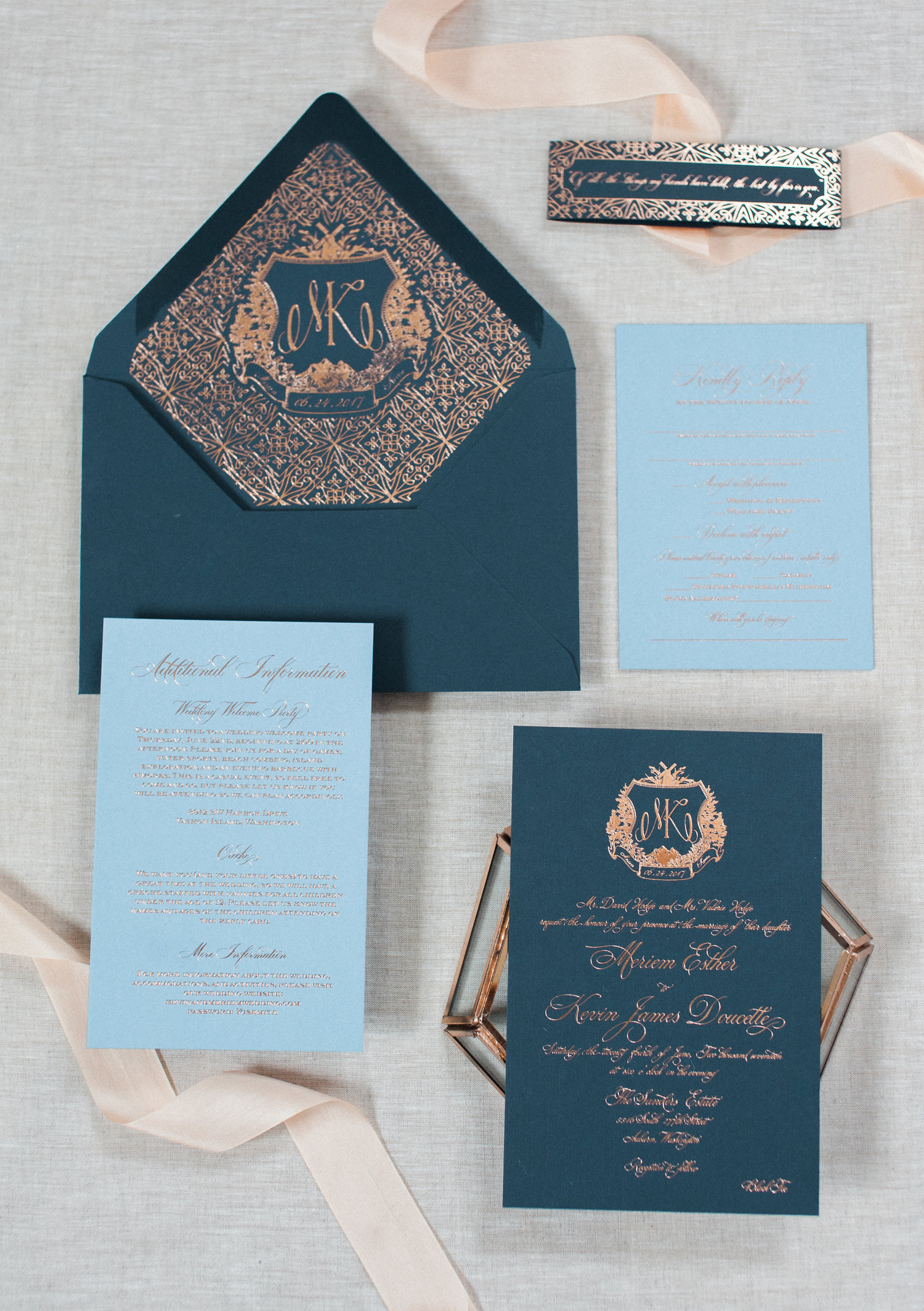 NAVY & ROSE GOLD FOIL CREST WEDDING INVITATION