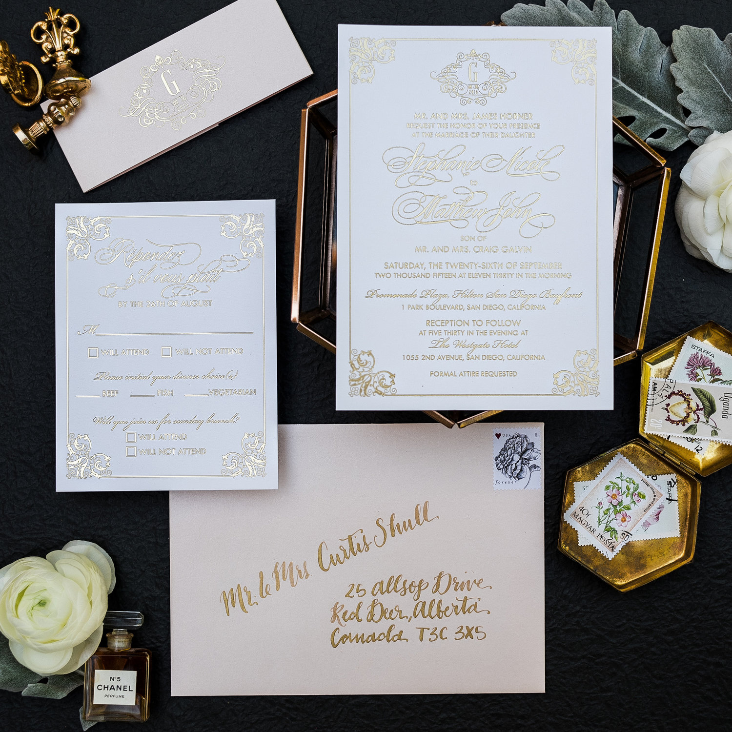 CLASSIC GOLD AND BLUSH WEDDING INVITATIONS