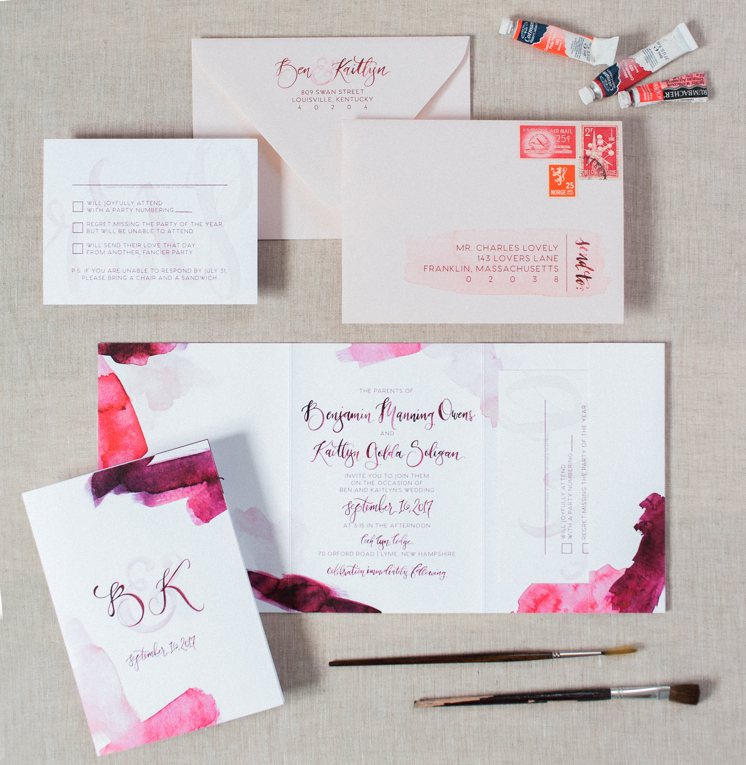 WATERCOLOR BRUSH STROKE WEDDING INVITATIONS