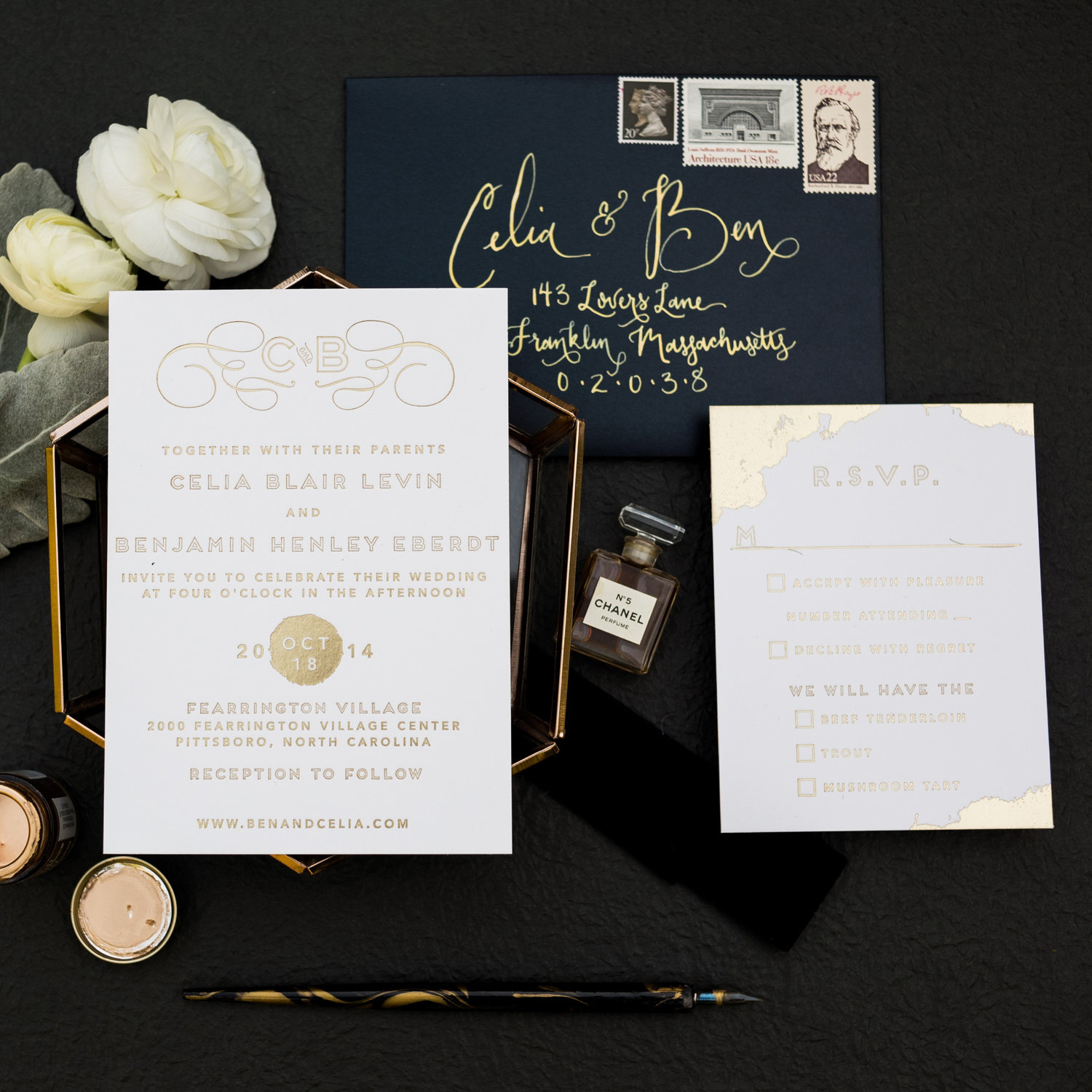 MODERN PAINTED GOLD FOIL WEDDING INVITATIONS