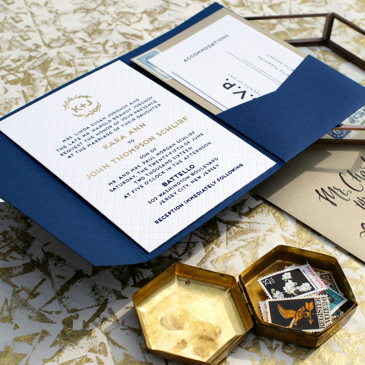 MODERN BLIND EMBOSS & FOIL WEDDING INVITATION