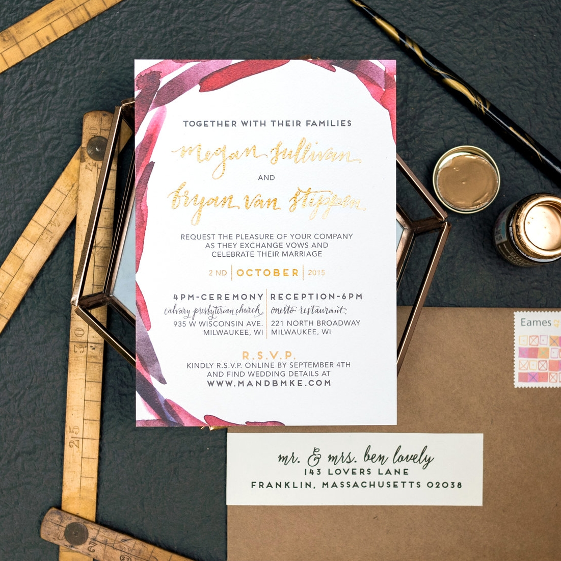 RED BRUSH STROKE AND GOLD FOIL WEDDING INVITATIONS