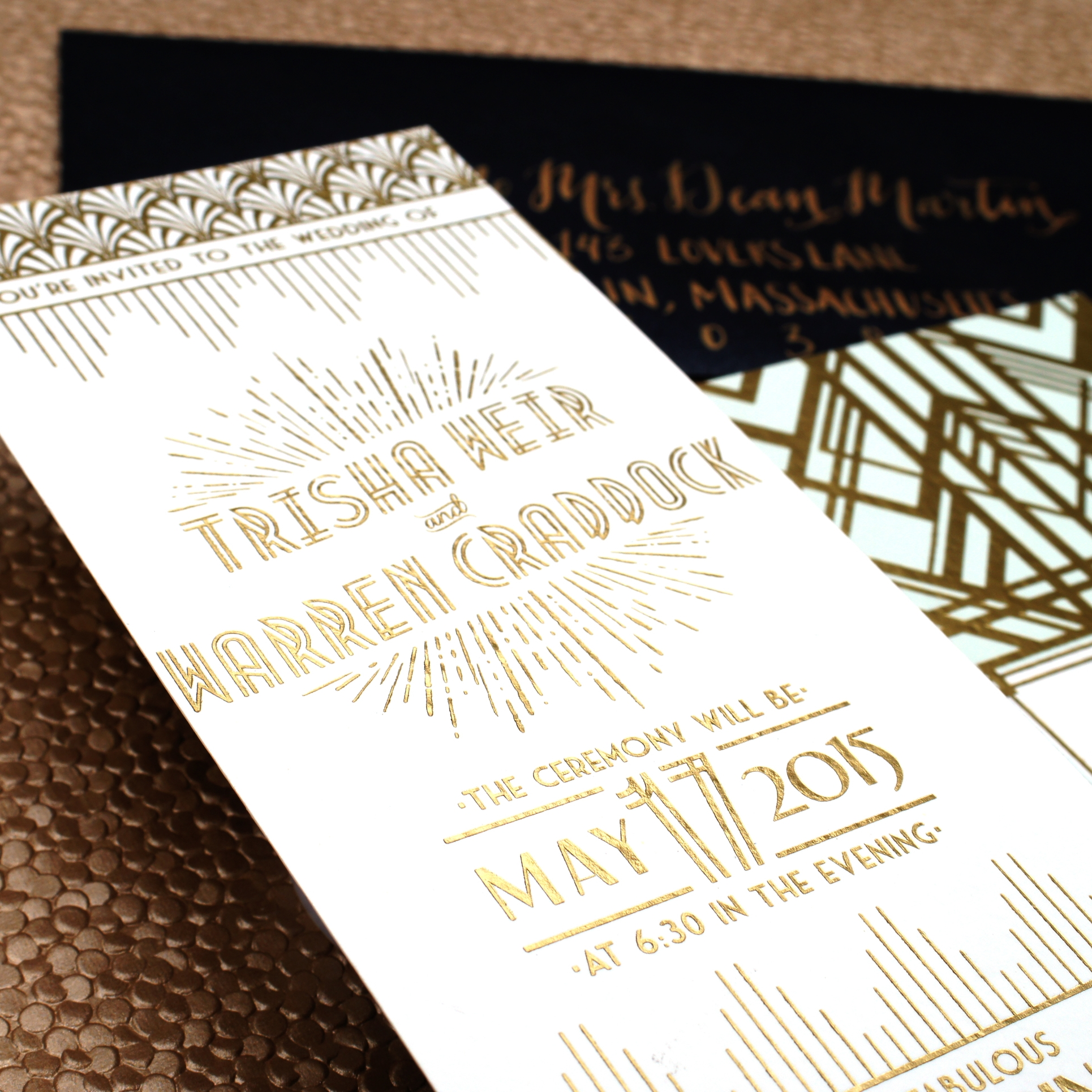 ART DECO GLAM GOLD FOIL WEDDING INVITATIONS
