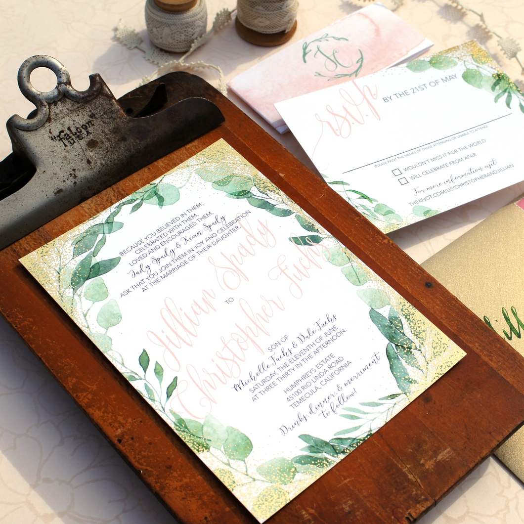 GREENS AND GOLD DOT FOIL WEDDING INVITATIONS