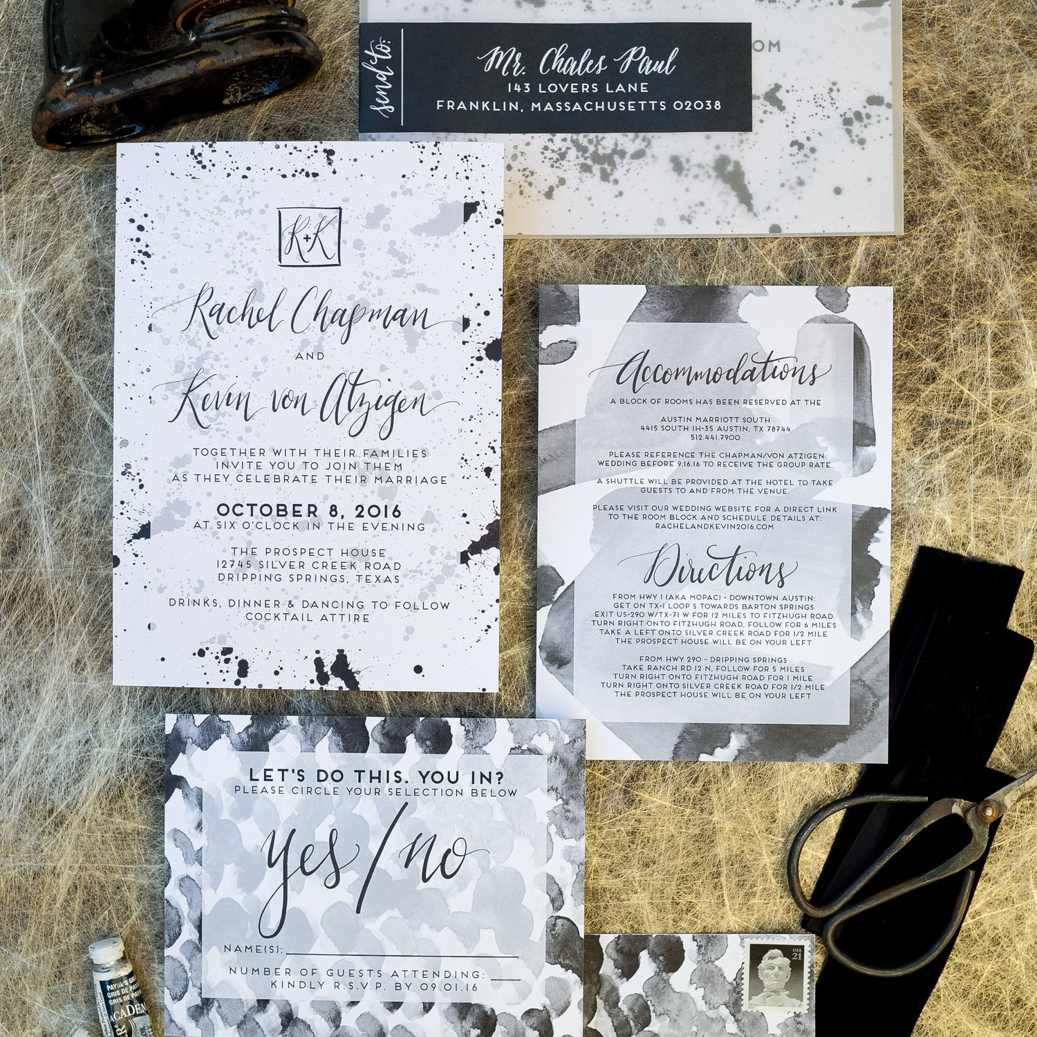 PAINT SPLATTER WATERCOLOR WEDDING INVITATIONS
