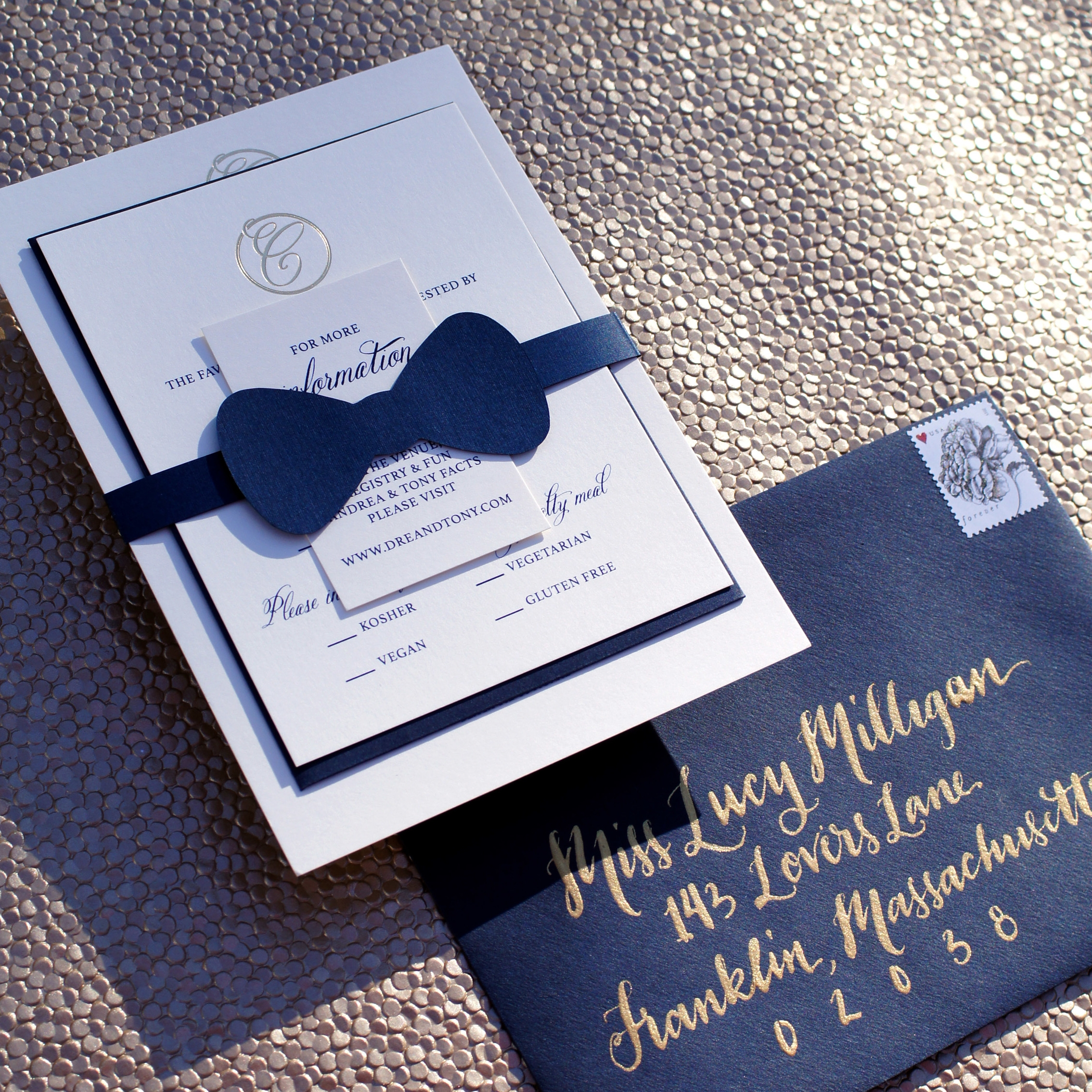 BOW TIE AND GOLD FOIL CLASSIC WEDDING INVITATIONS