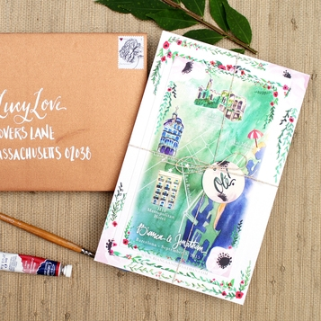 BOTANICAL + MAP BARCELONA WATERCOLOR INVITATIONS