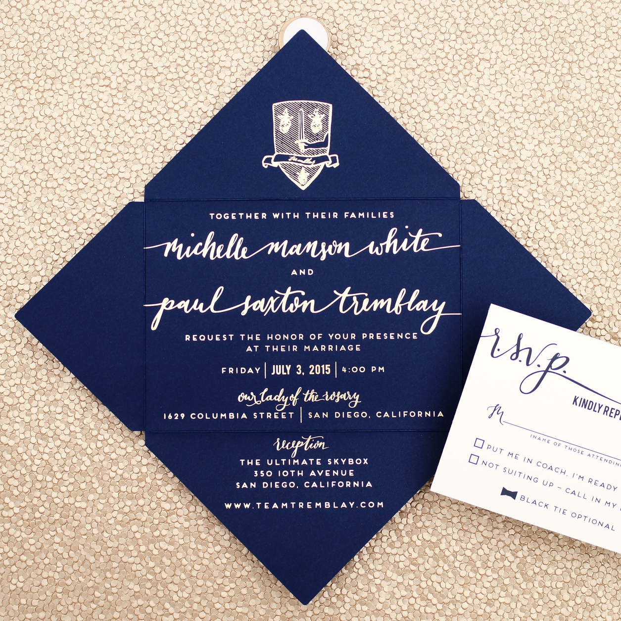 FAMILY CREST OPEN ENVELOPE WEDDING INVITATIONS