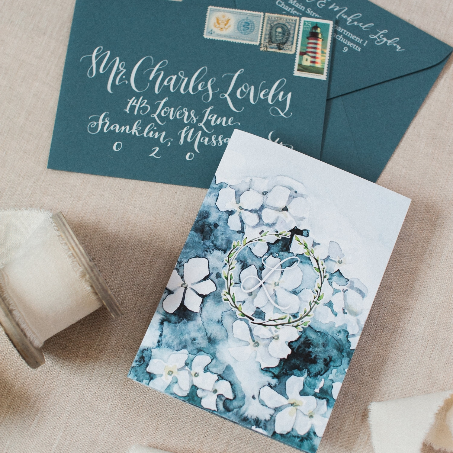 HYDRANGEA WATERCOLOR AND WYCHMERE HARBOR WEDDING INVITATIONS