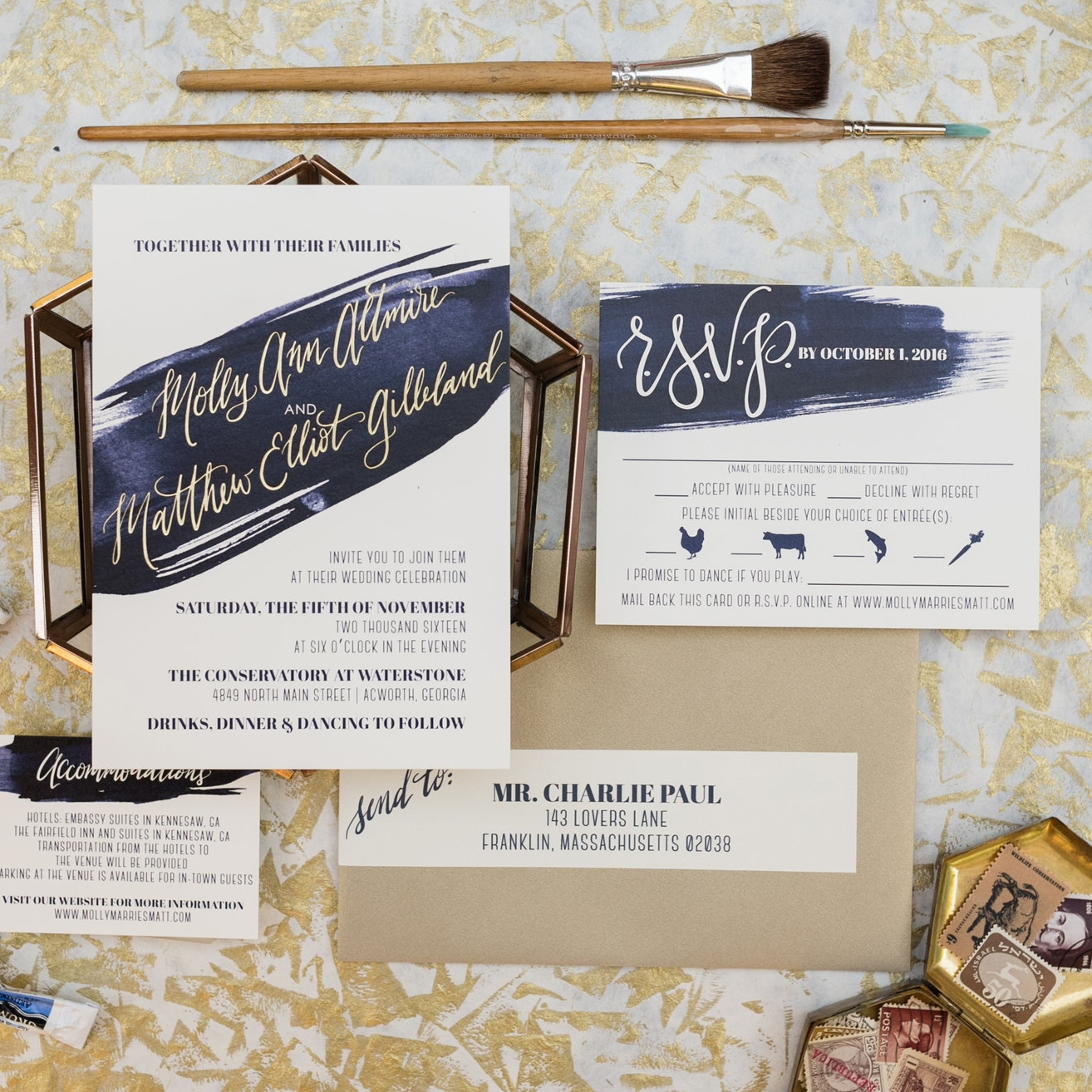 NAVY & GOLD FOIL BRUSH STROKE WEDDING INVITATIONS
