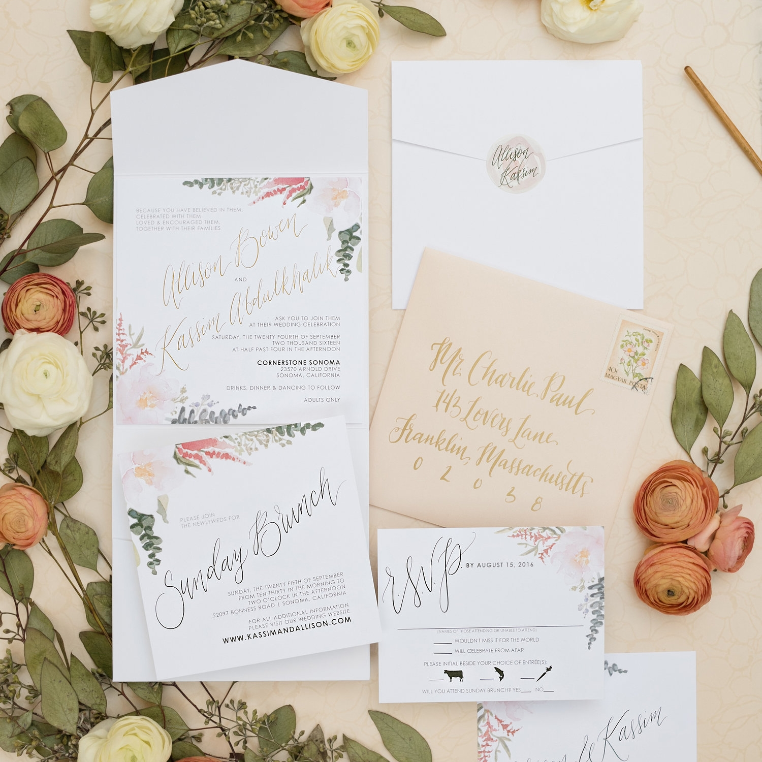 BLUSH FLORAL DETAIL SQUARE WEDDING INVITATIONS