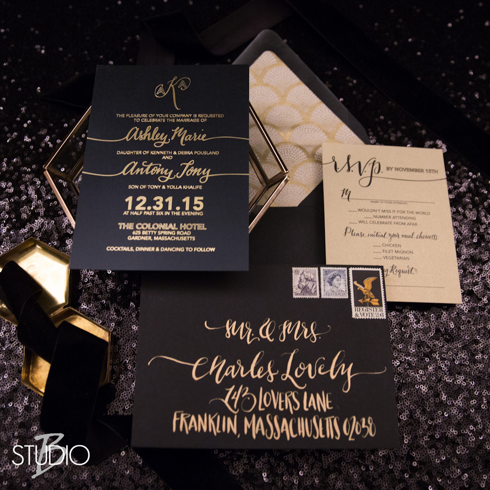 BLACK & GOLD FOIL MODERN WEDDING INVITES