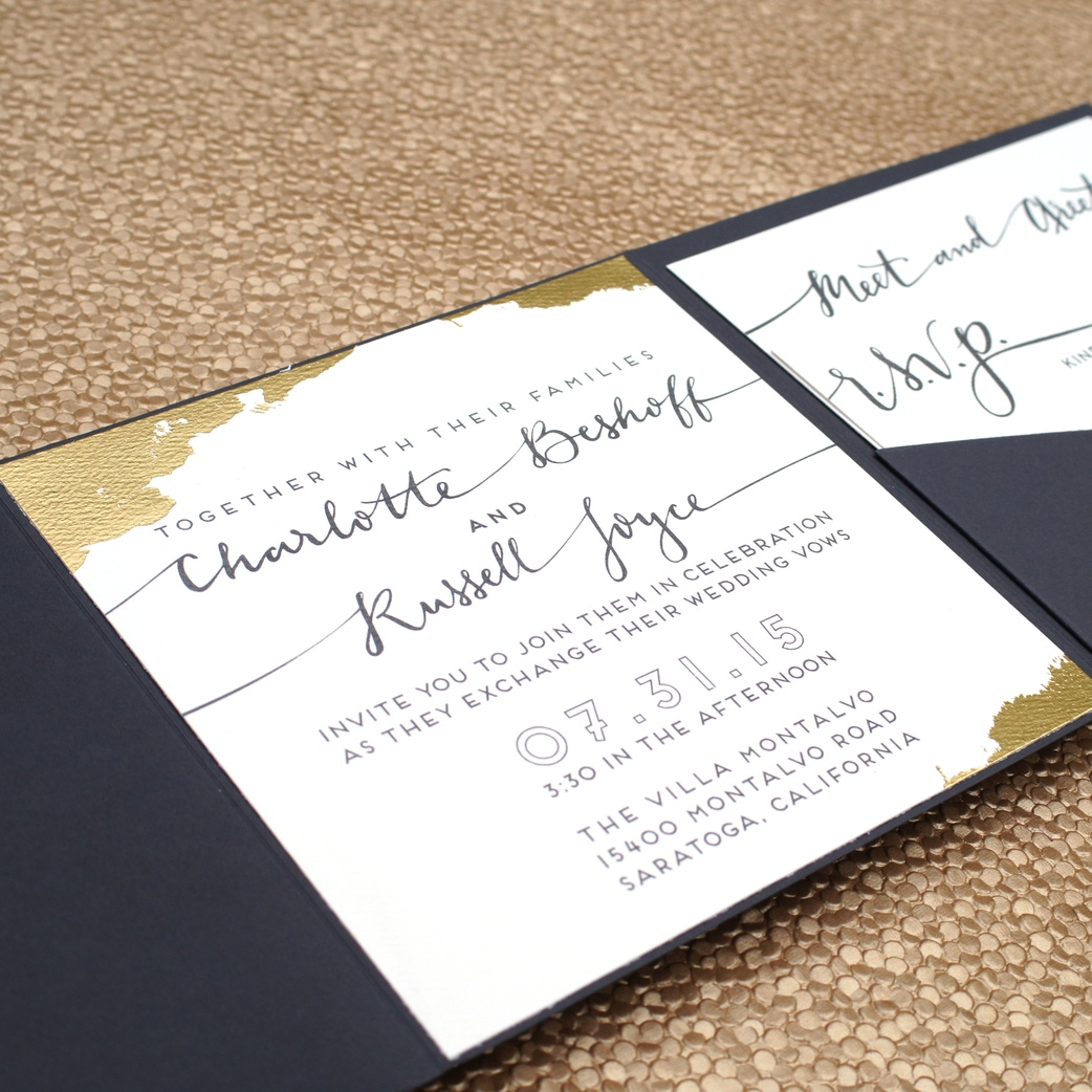 SQUARE PAINTED GOLD FOIL WEDDING INVITATIONS
