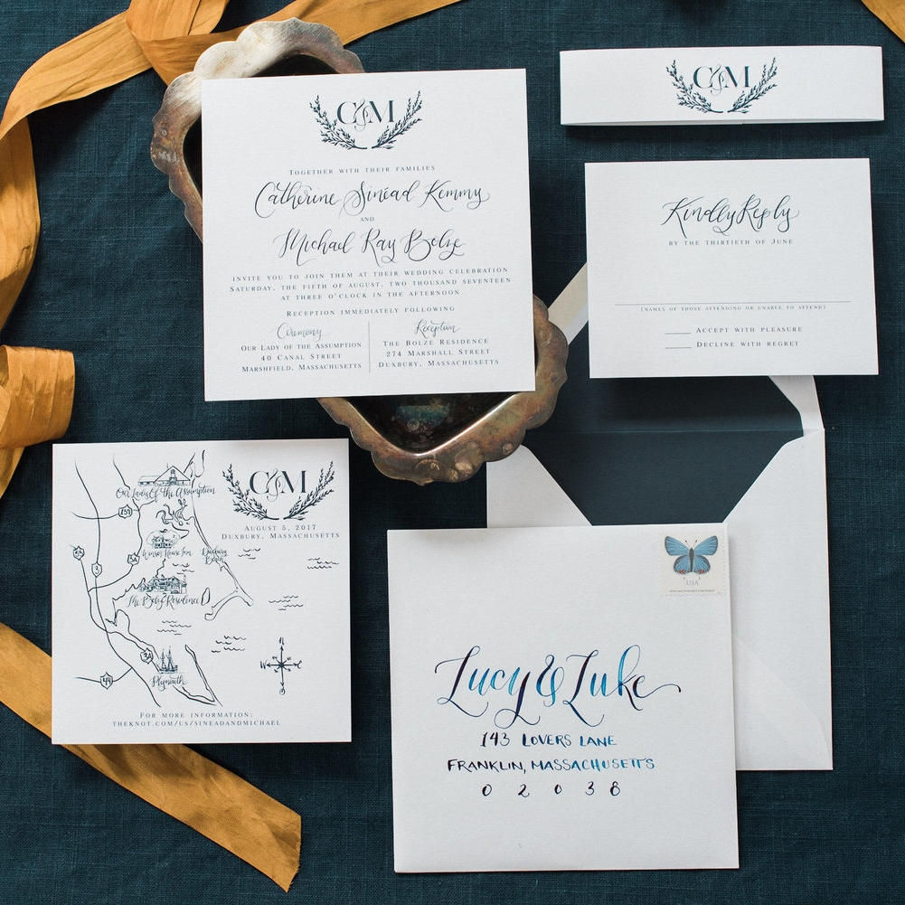 MAP & LEAVES NAVY AND WHITE WEDDING INVITATIONS