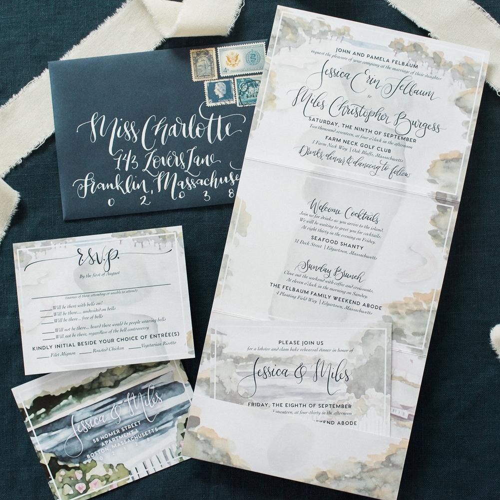 CAPE COD FOLDED COASTAL WEDDING INVITATIONS