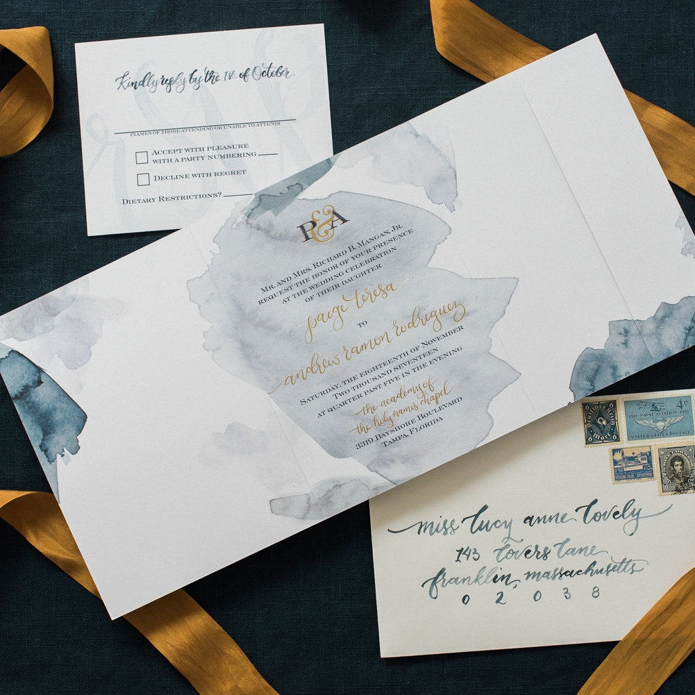 GOLD & BLUE WATERCOLOR WASH WEDDING INVITATIONS