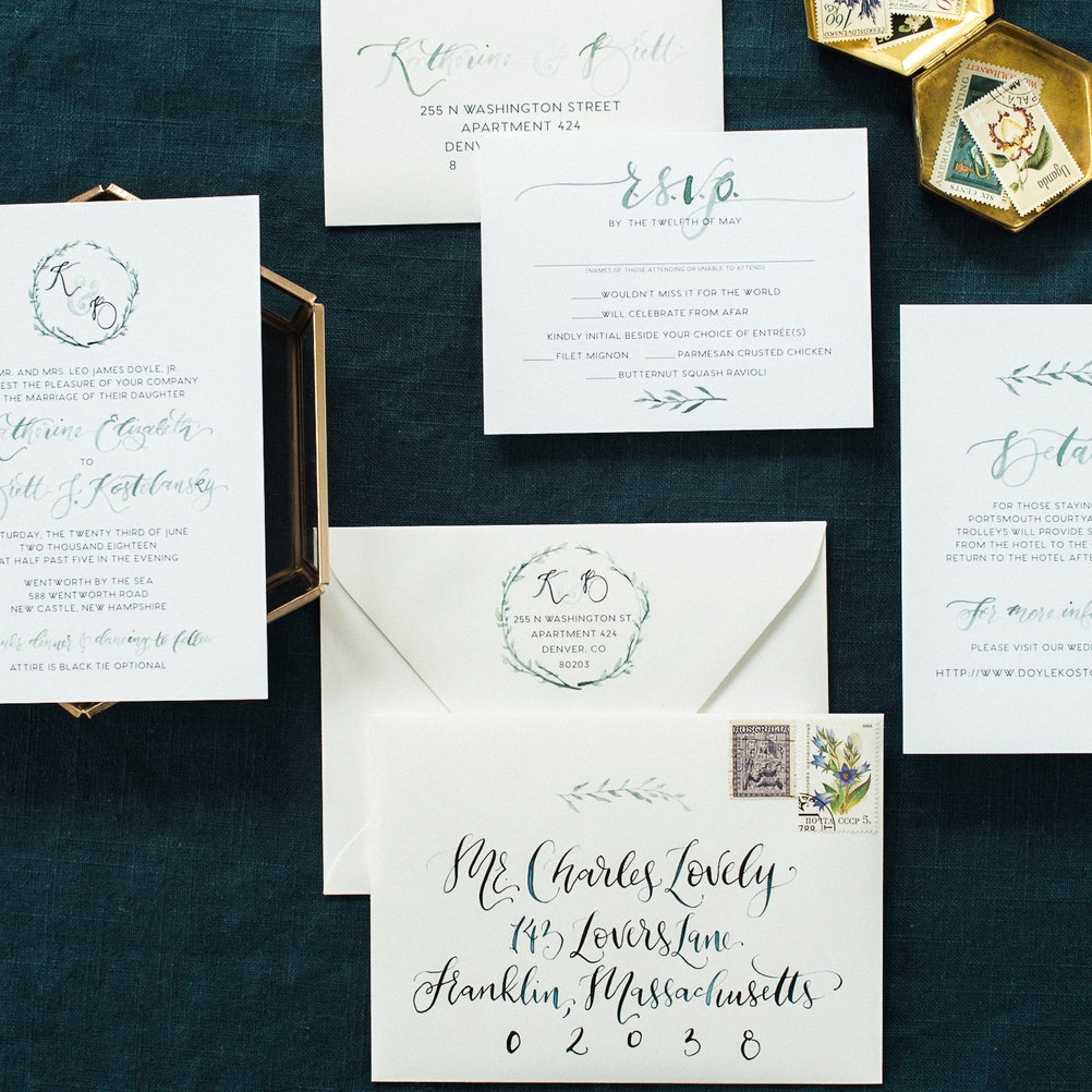 GREEN BOTANICAL WREATH WATERCOLOR INVITATIONS