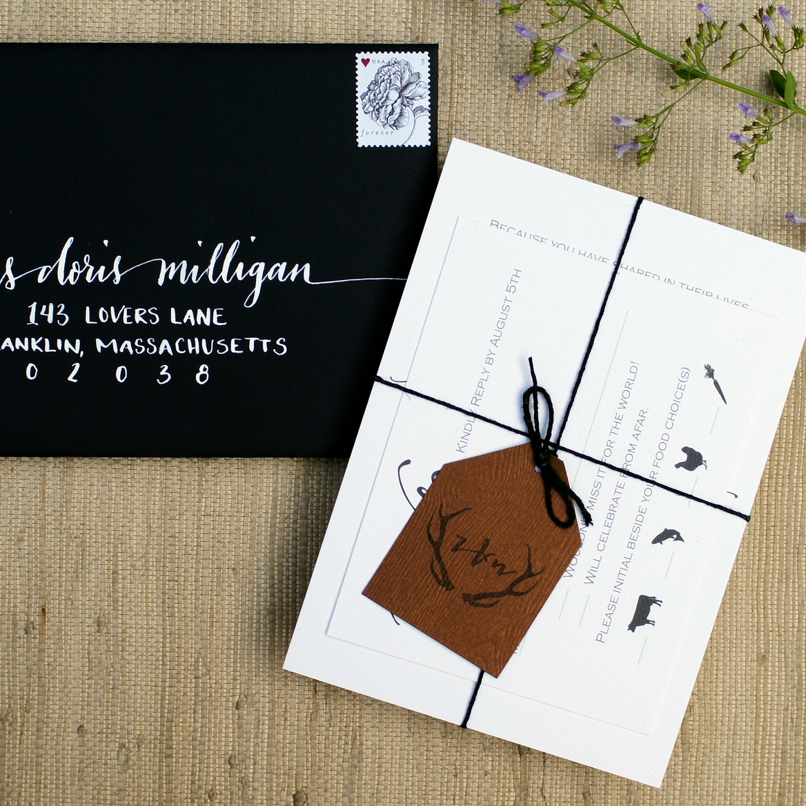 SIMPLE RUSTIC WEDDING INVITATIONS WITH ANTLERS