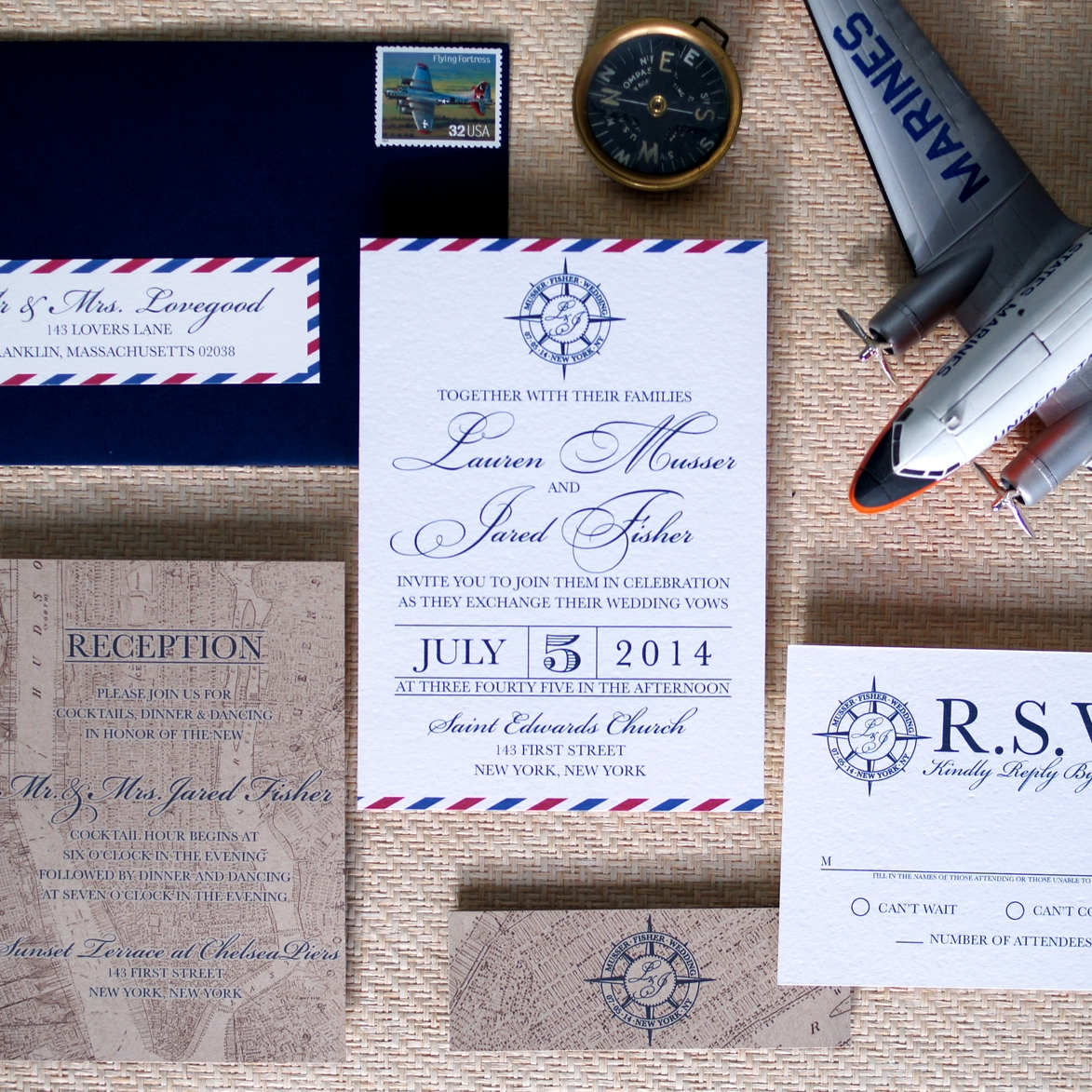 AIR MAIL AND VINTAGE MAP WEDDING INVITATIONS