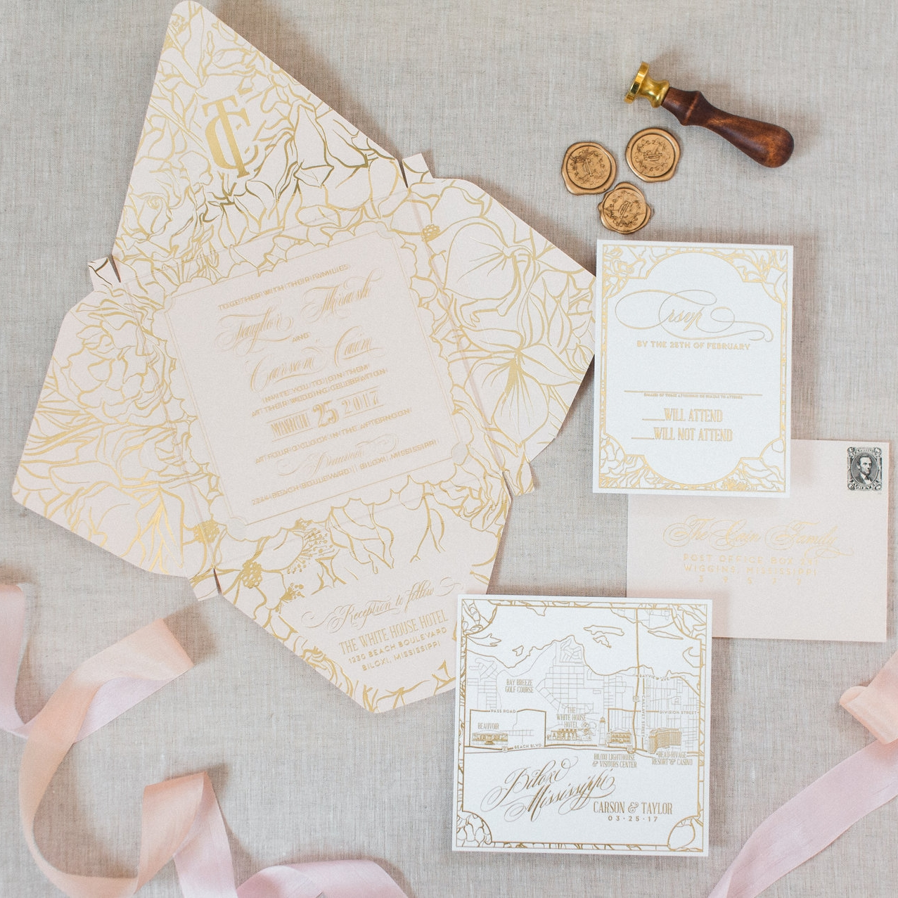 ACRYLIC BLUSH & GOLD BOXED CUSTOM WEDDING INVITATION