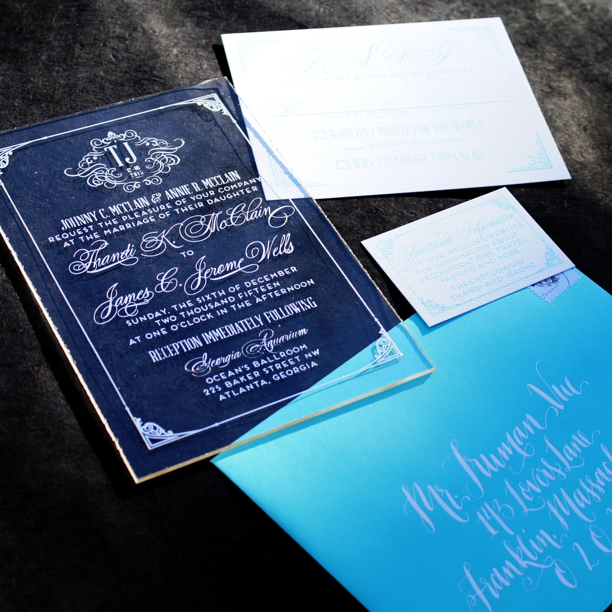 ACRYLIC AND SILVER FOIL CLASSIC DESIGN WEDDING INVITATIONS
