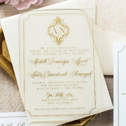 ACRYLIC ELEGANT CLASSIC GOLD FOIL WEDDING INVITATIONS