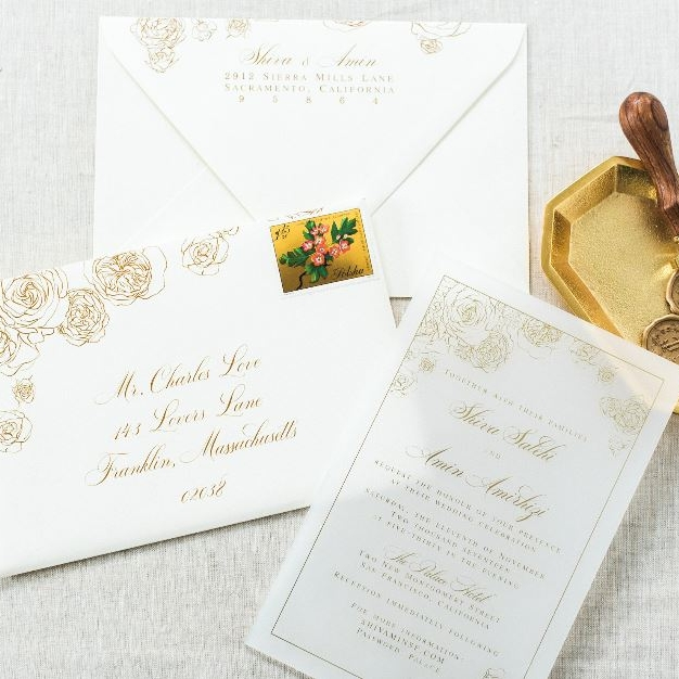 FROSTED ACRYLIC GOLD FLORAL WEDDING INVITATIONS