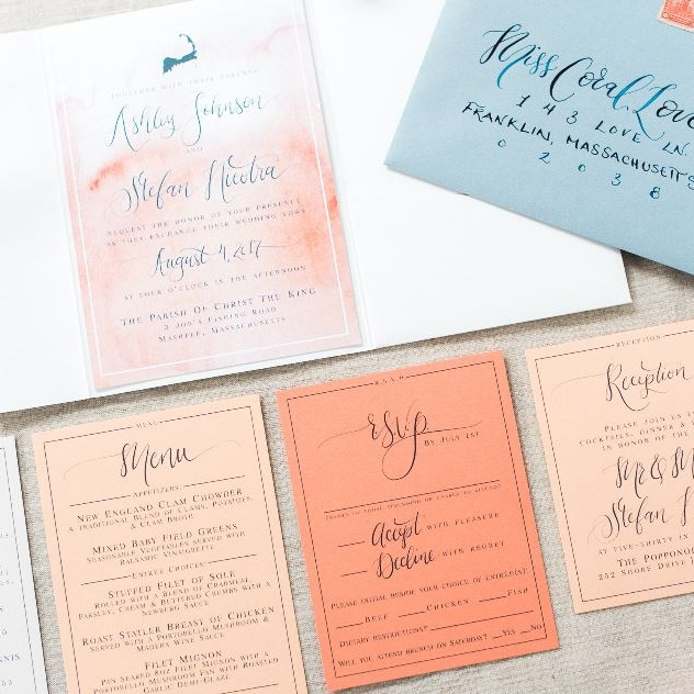 PEACH WATERCOLOR AND GRADIENT PAPER INVITATIONS