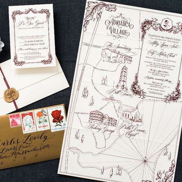 ADRIATIC VILLAGE ELEGANT MAP WEDDING INVITATIONS