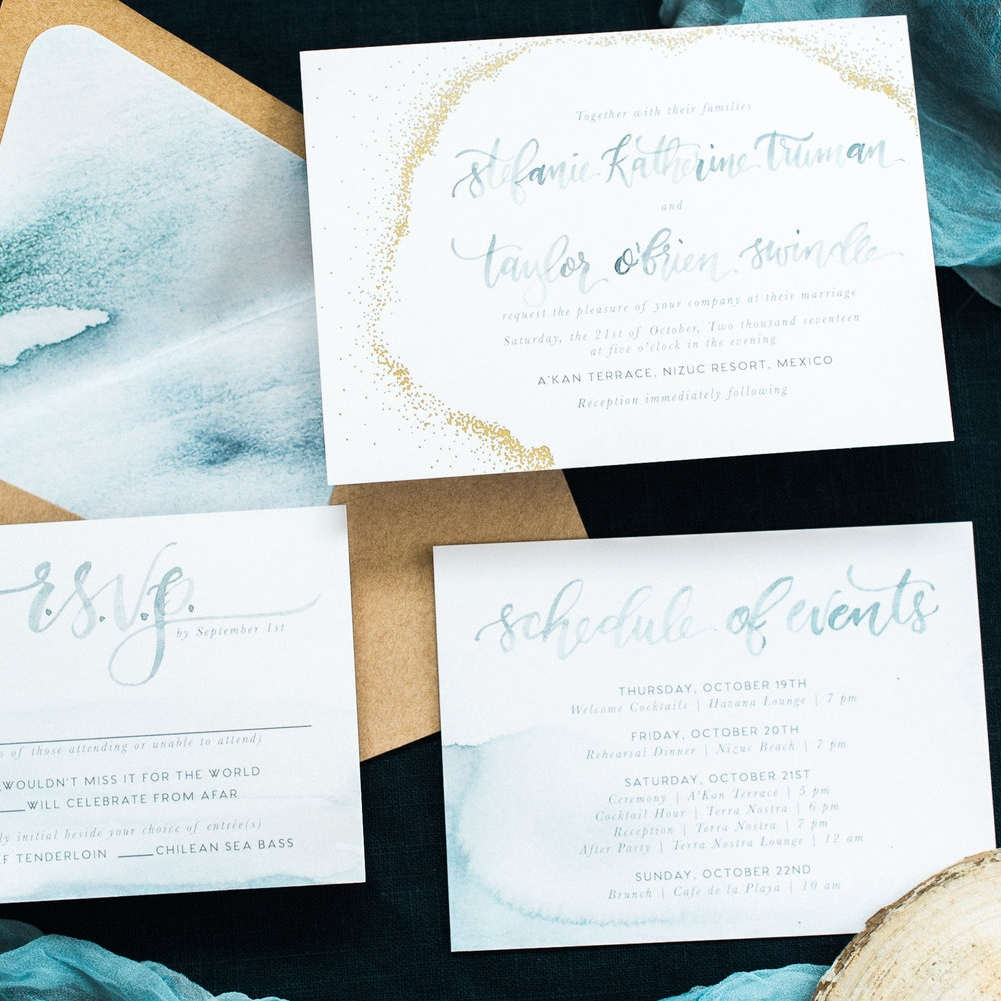 GOLD DOT & WATERCOLOR COASTAL BEACH WEDDING INVITATIONS