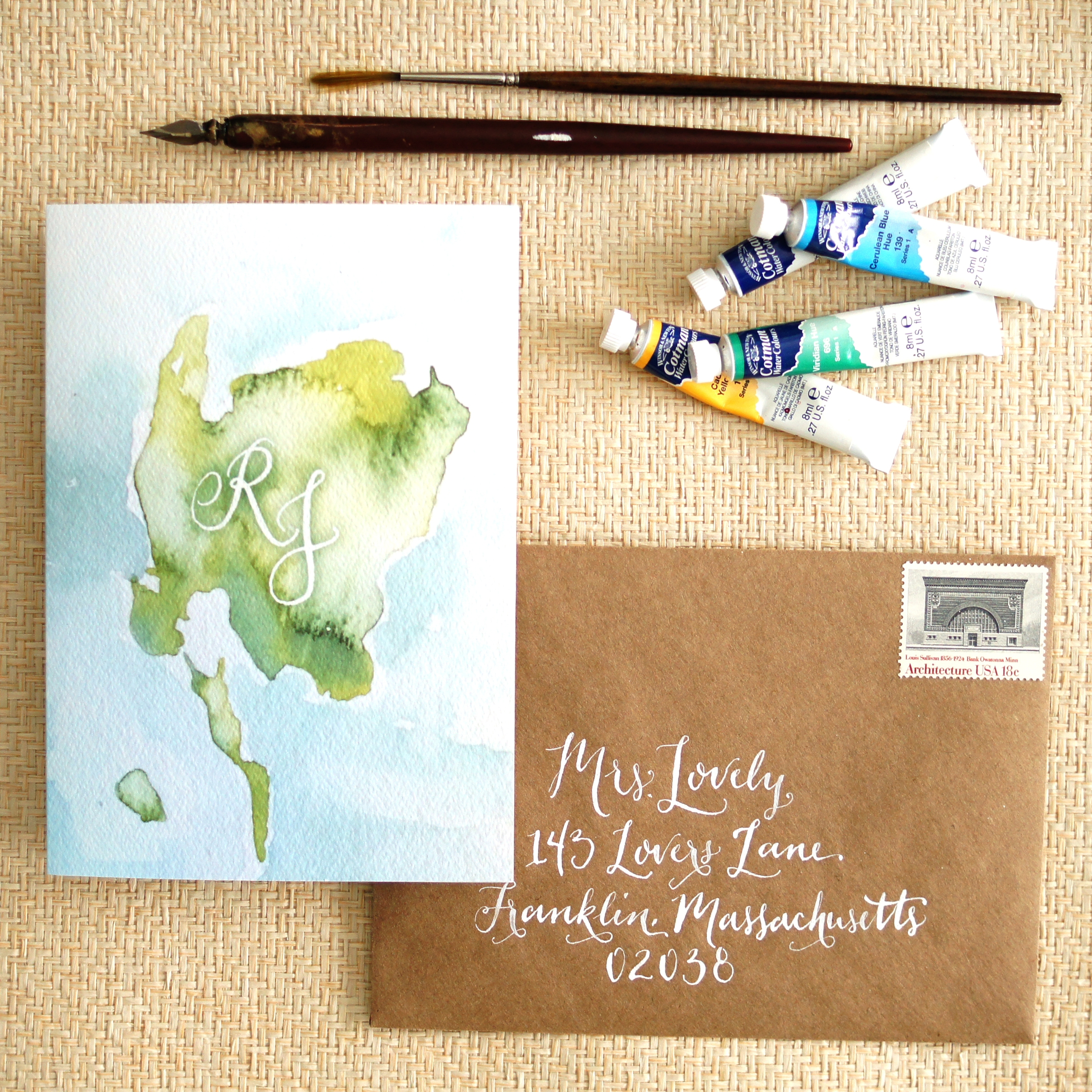 ISLAND GREEN AND BLUE WATERCOLOR WEDDING INVITATIONS