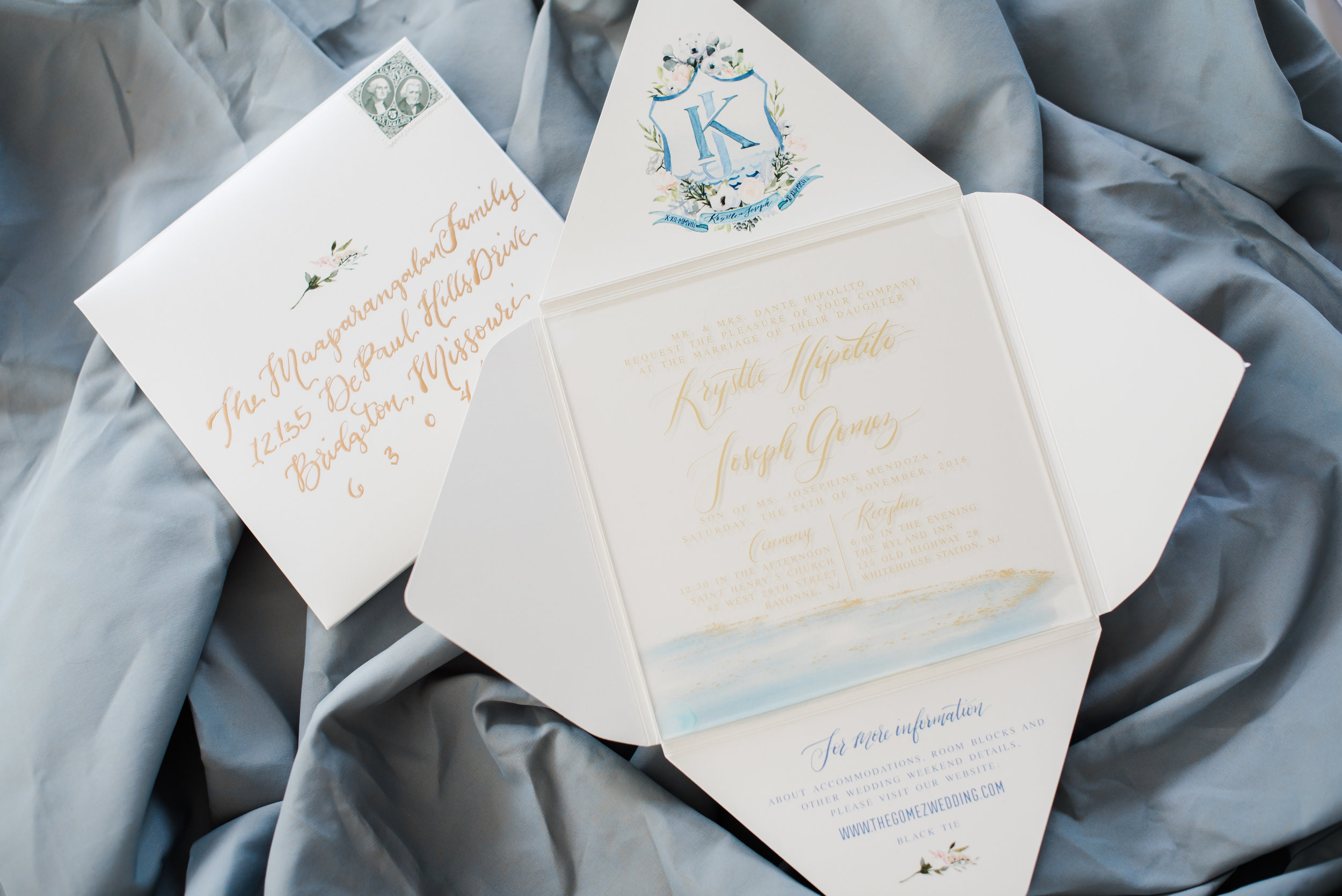 ACRYLIC BEACH WATERCOLOR WEDDING INVITATION WITH CUSTOM CREST