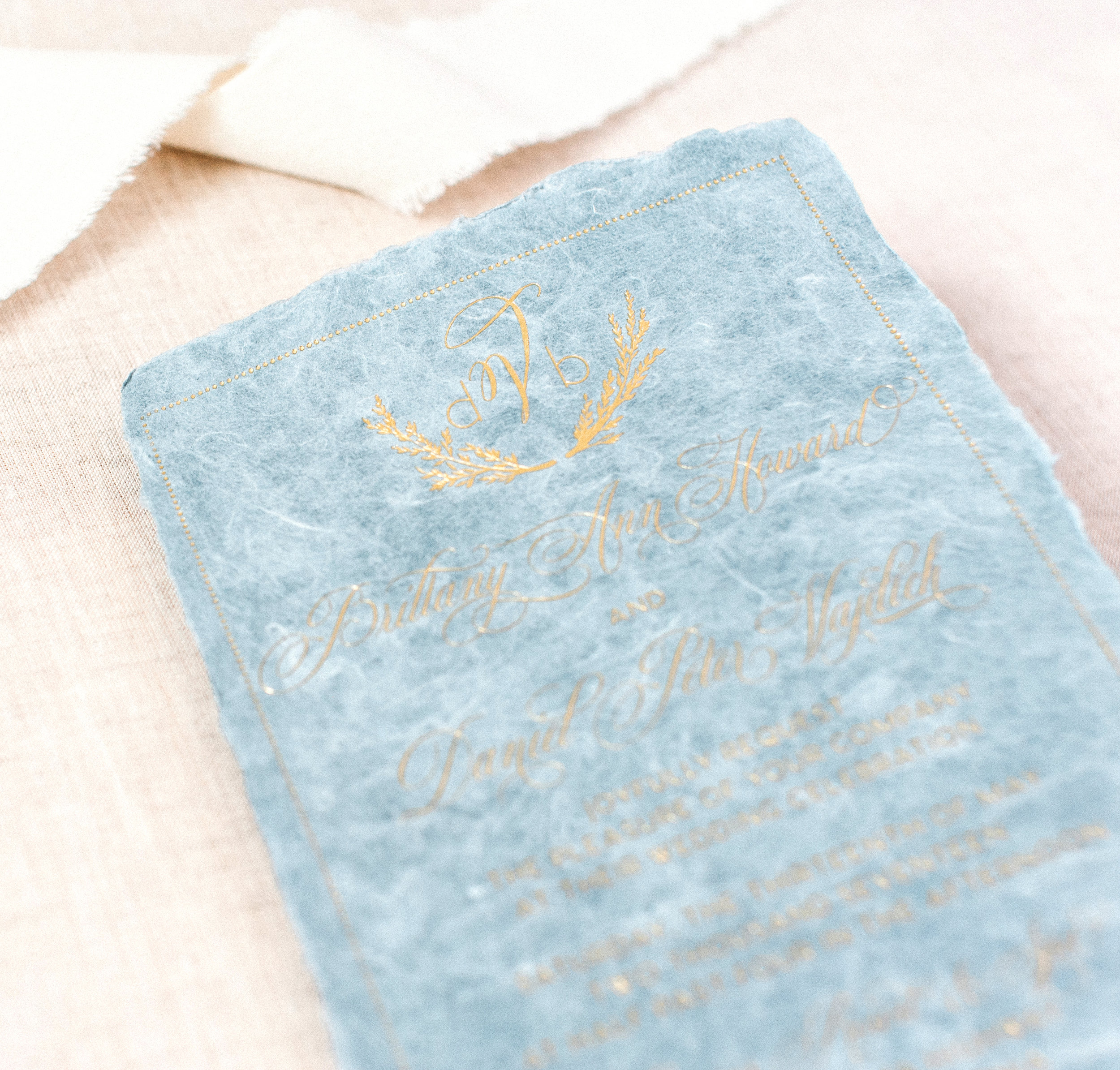 HANDMADE PAPER & GOLD FOIL WEDDING INVITATIONS