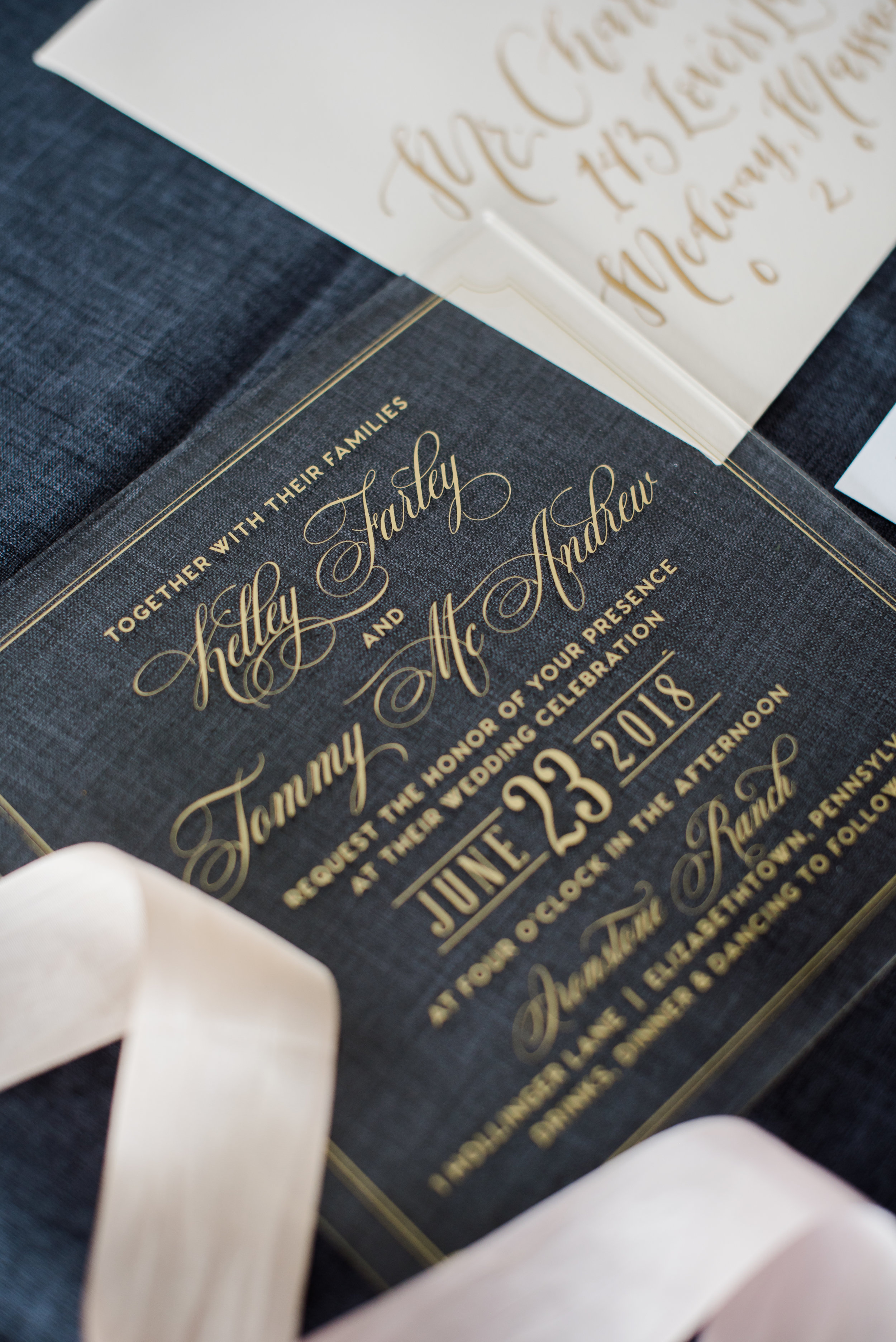SQUARE ACRYLIC CLASSIC WEDDING INVITATIONS WITH GOLD FOIL DETAILS