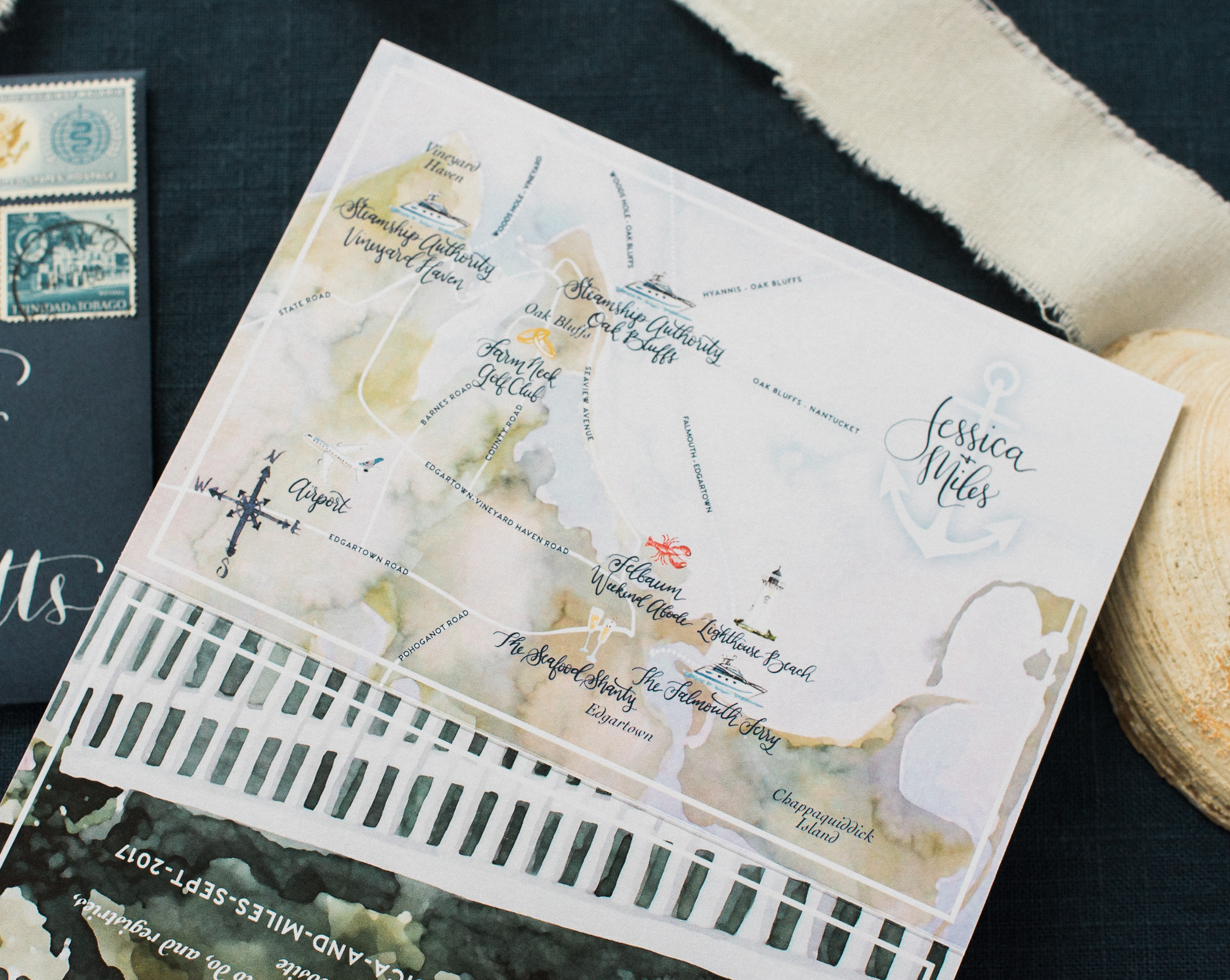 Cape Cod Watercolor Wedding Map