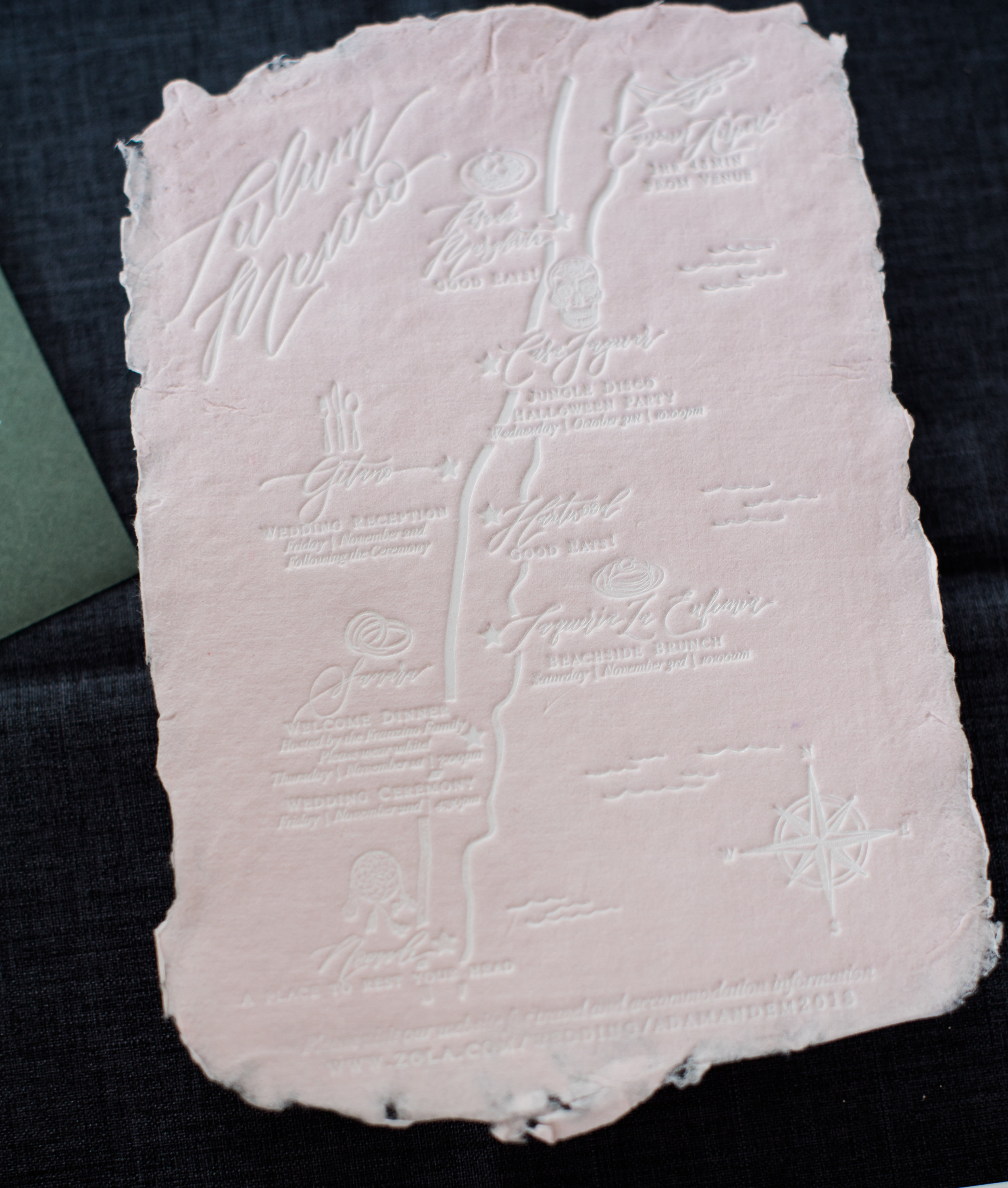 Tulum Mexico Handmade Paper Wedding Map