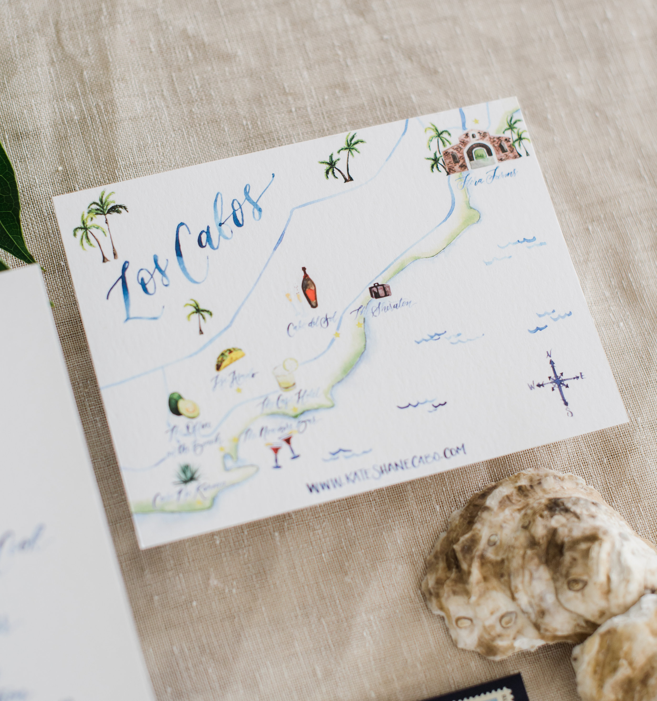 Los Cabos Watercolor Wedding Map