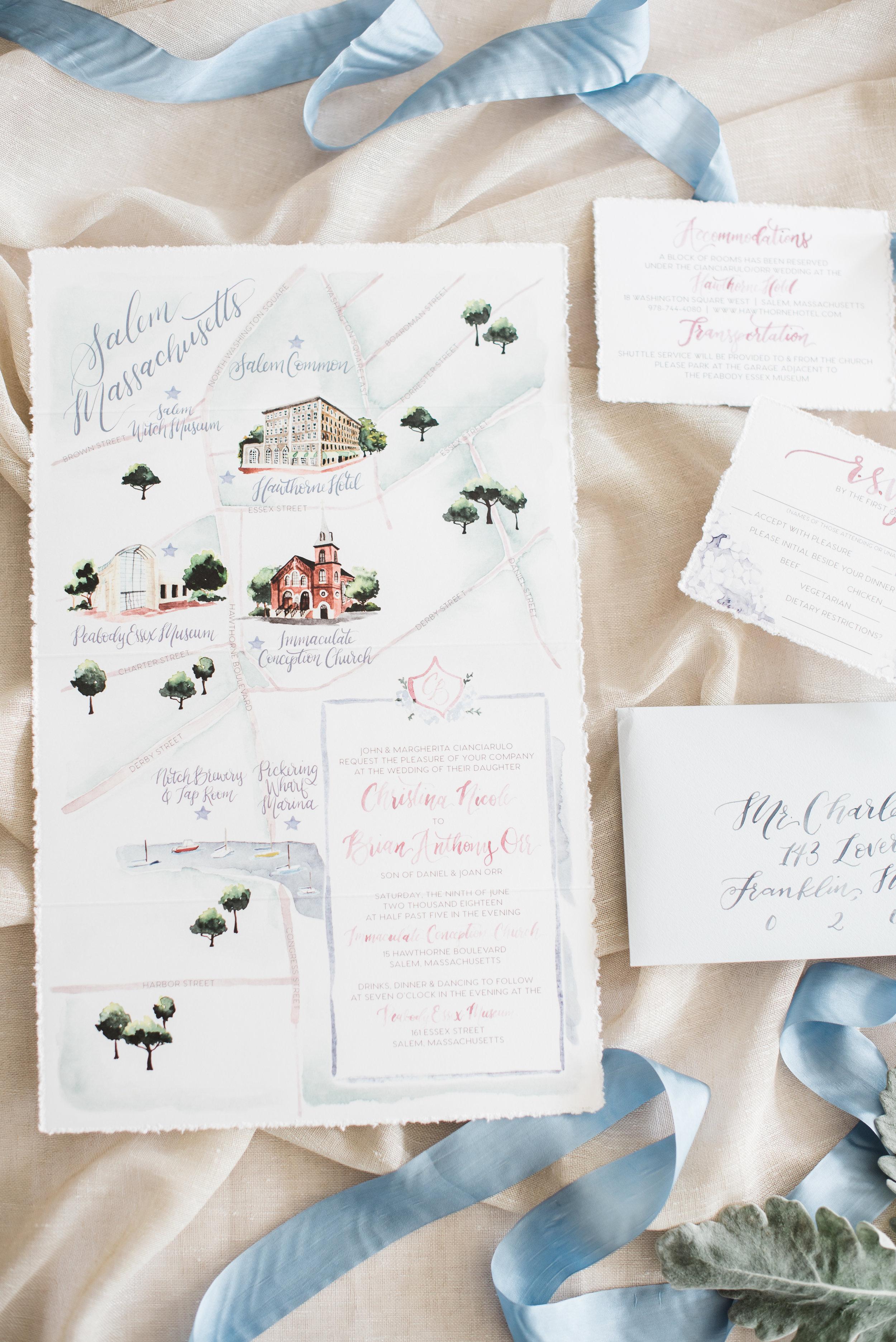 Salem Watercolor Wedding Map