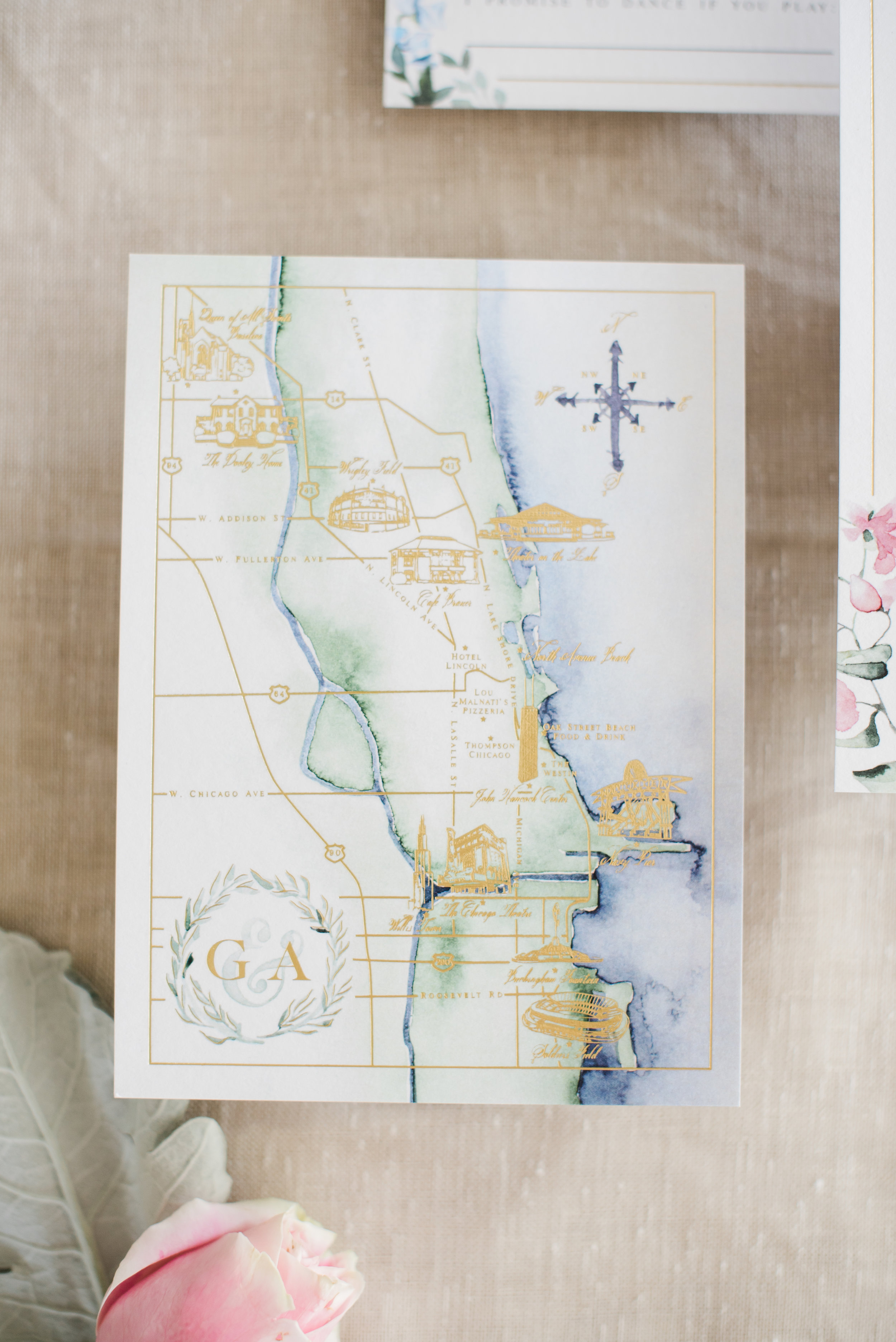 Chicago Watercolor + Gold Foil Wedding Map
