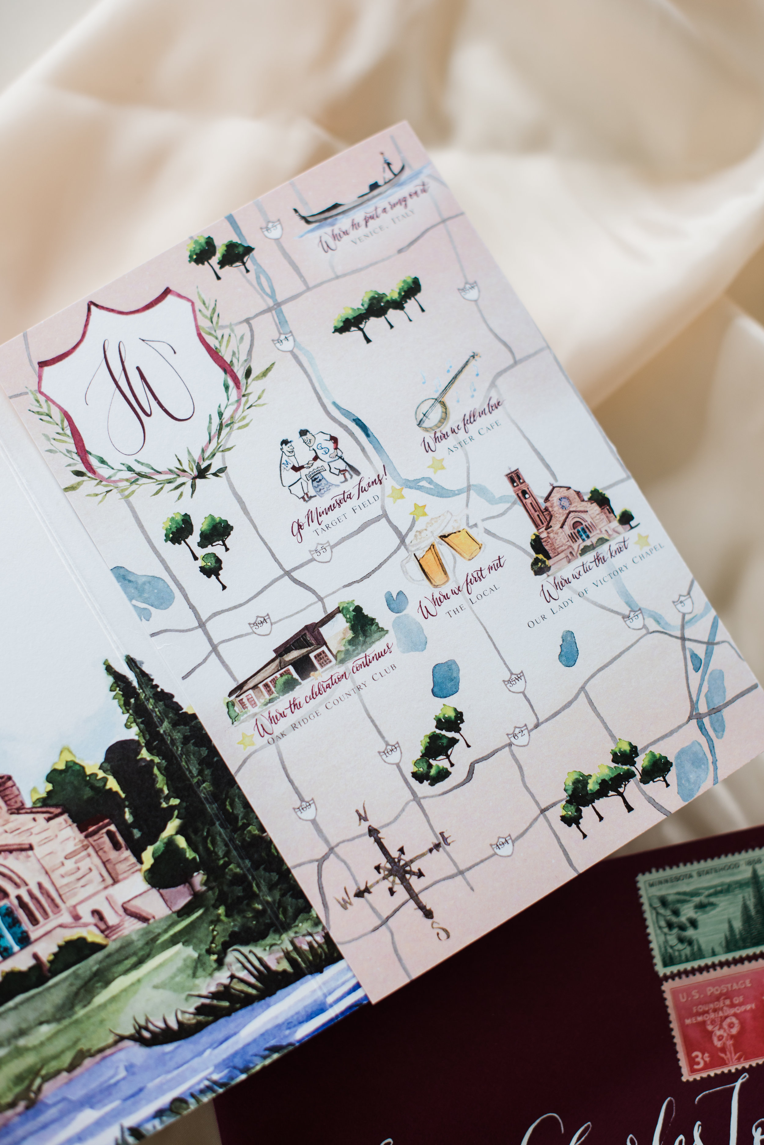 Minnesota Watercolor Wedding Map