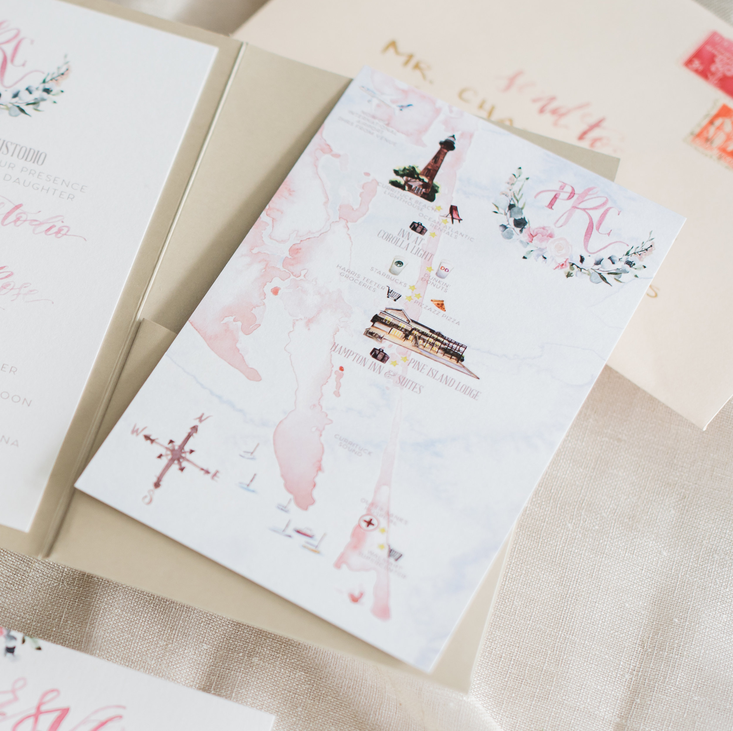 Outer Banks NC Watercolor Wedding Map